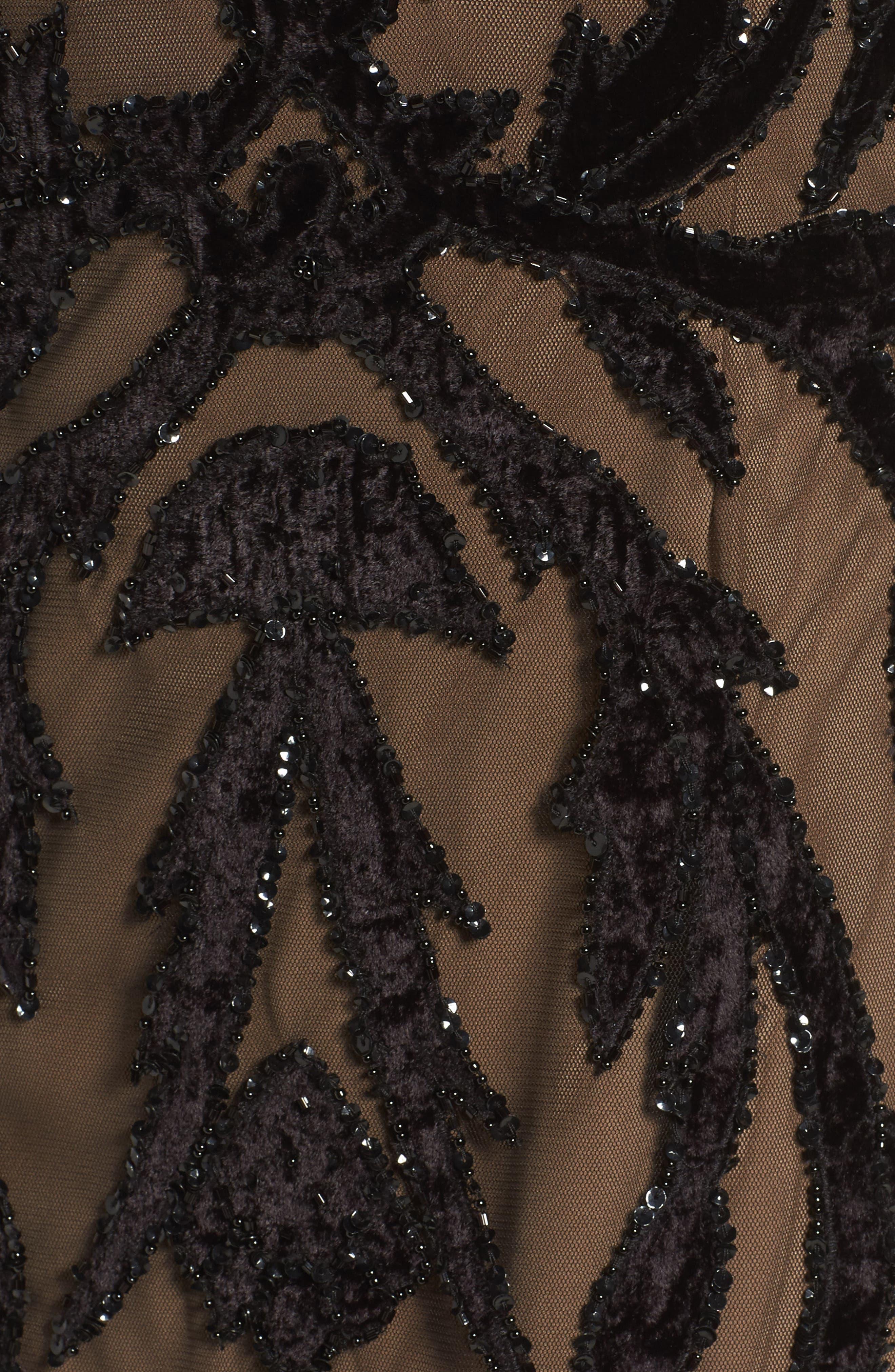 Beaded Mesh Gown,                             Alternate thumbnail 5, color,                             002