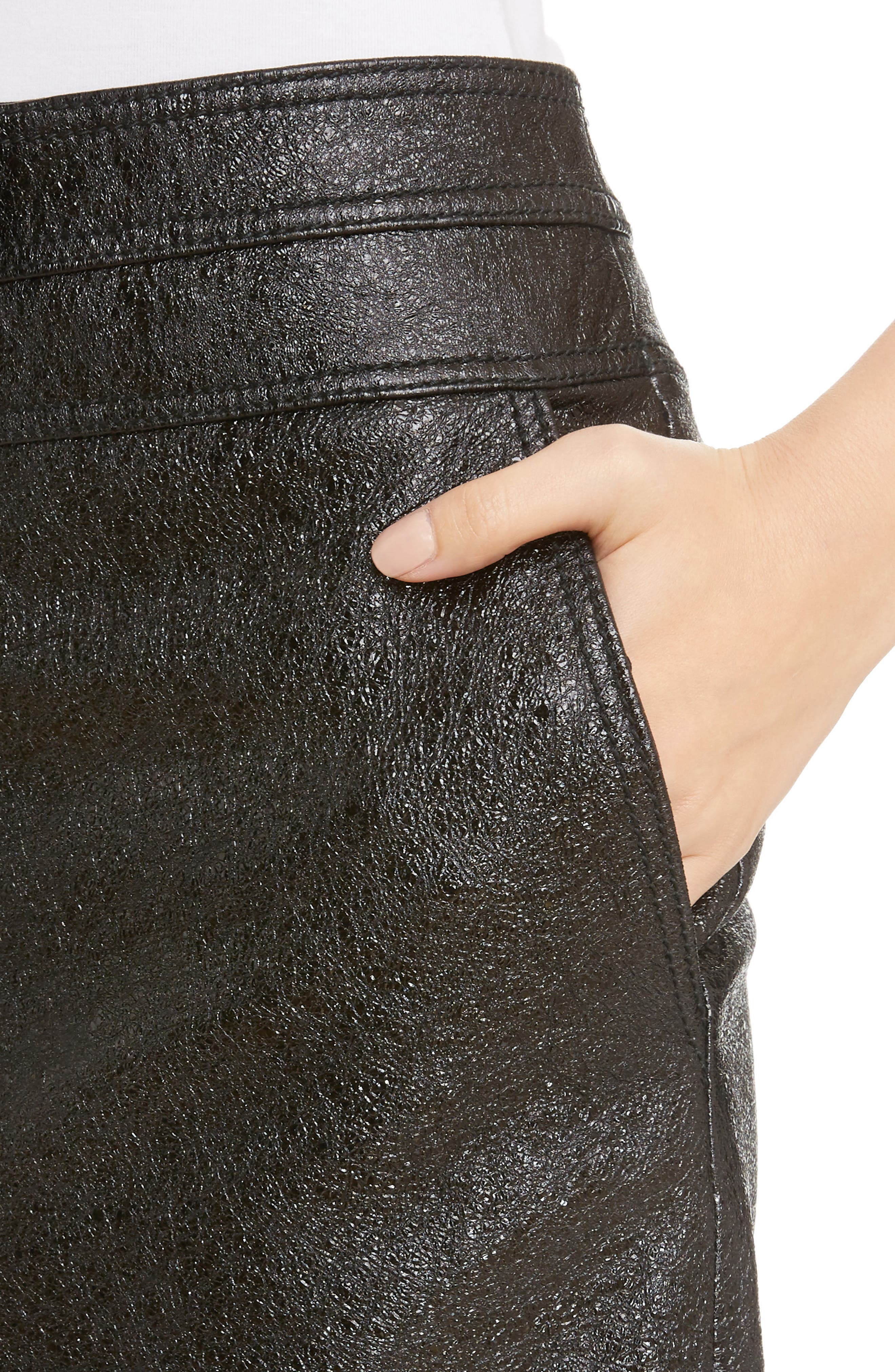 Coated Leather Miniskirt,                             Alternate thumbnail 4, color,                             001