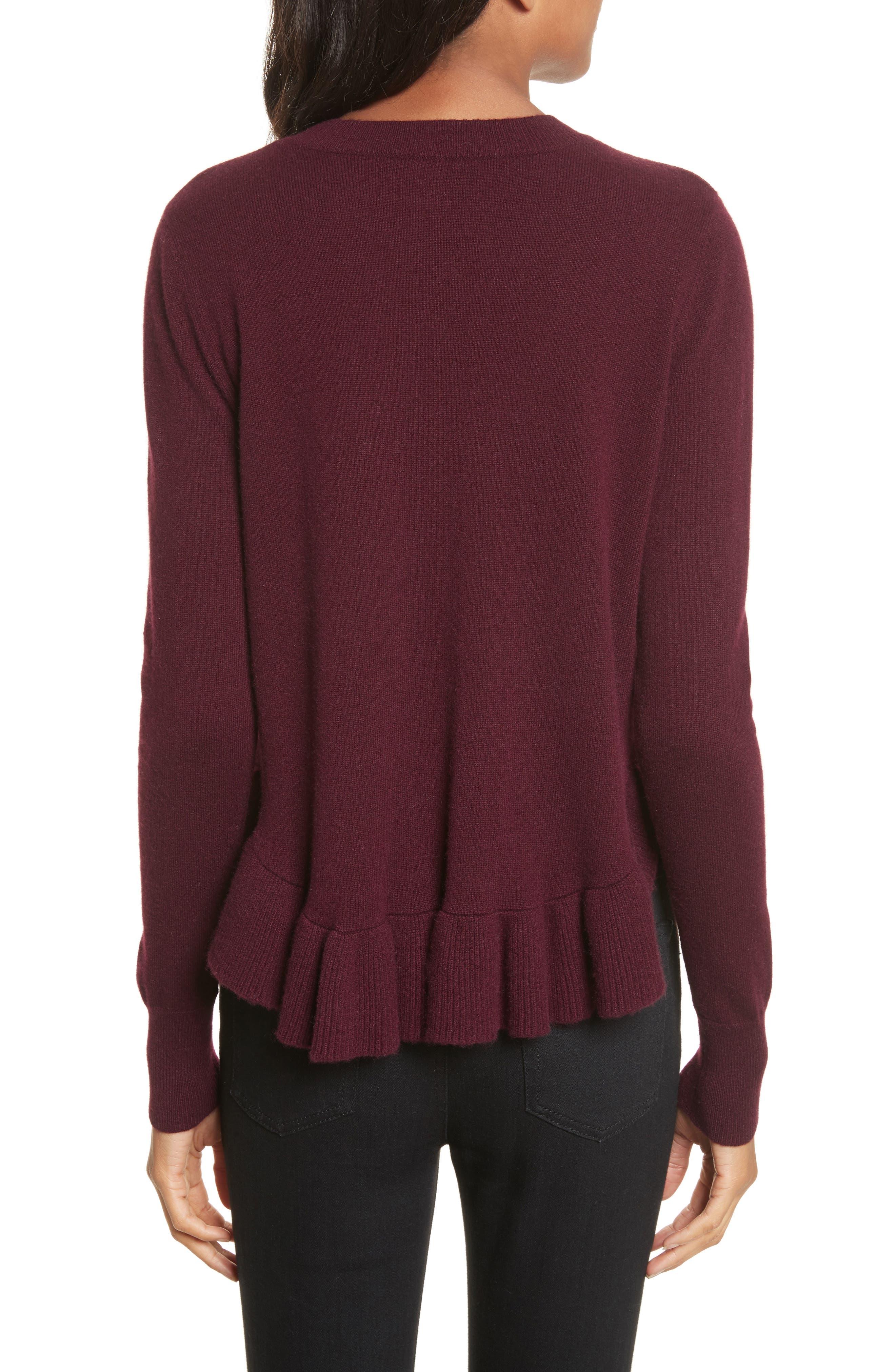 Ruffle Hem Crewneck Sweater,                             Alternate thumbnail 2, color,
