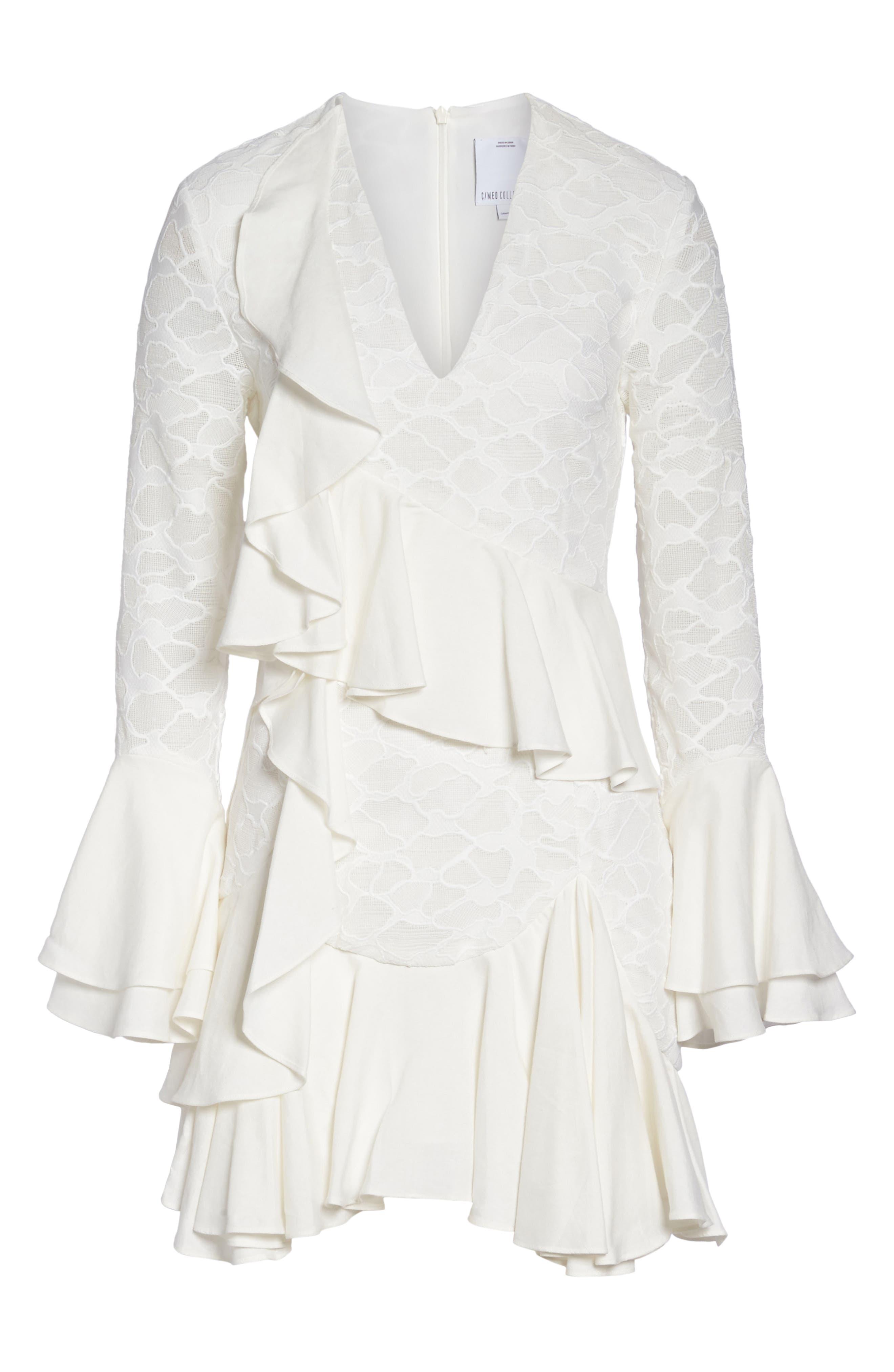 Phase Ruffle Lace Minidress,                             Alternate thumbnail 6, color,