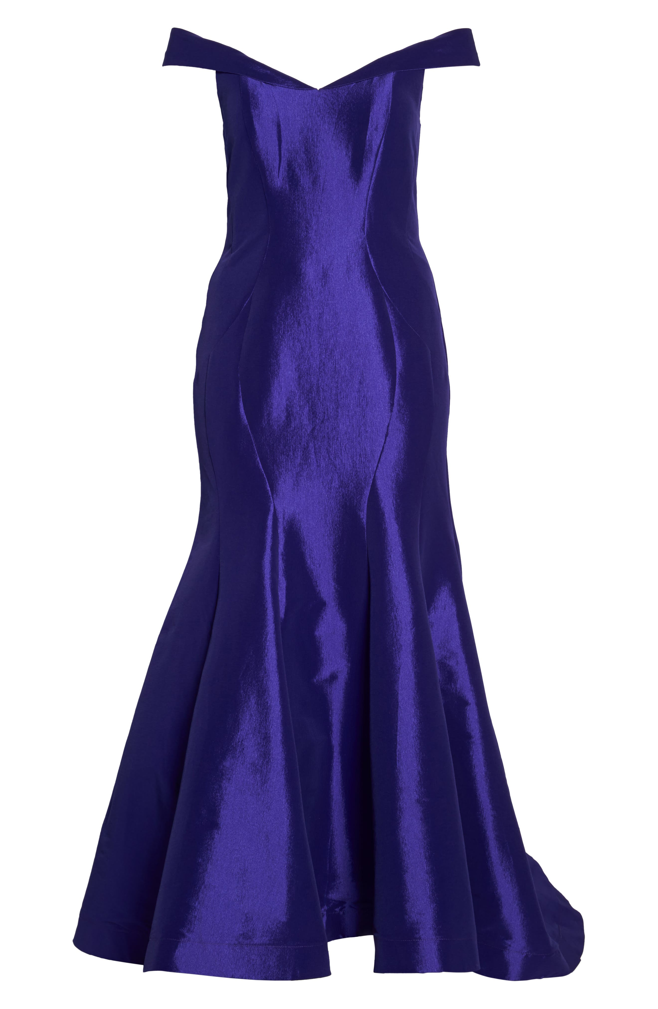 Off the Shoulder Mermaid Gown,                             Alternate thumbnail 6, color,                             ROYAL/ PURPLE
