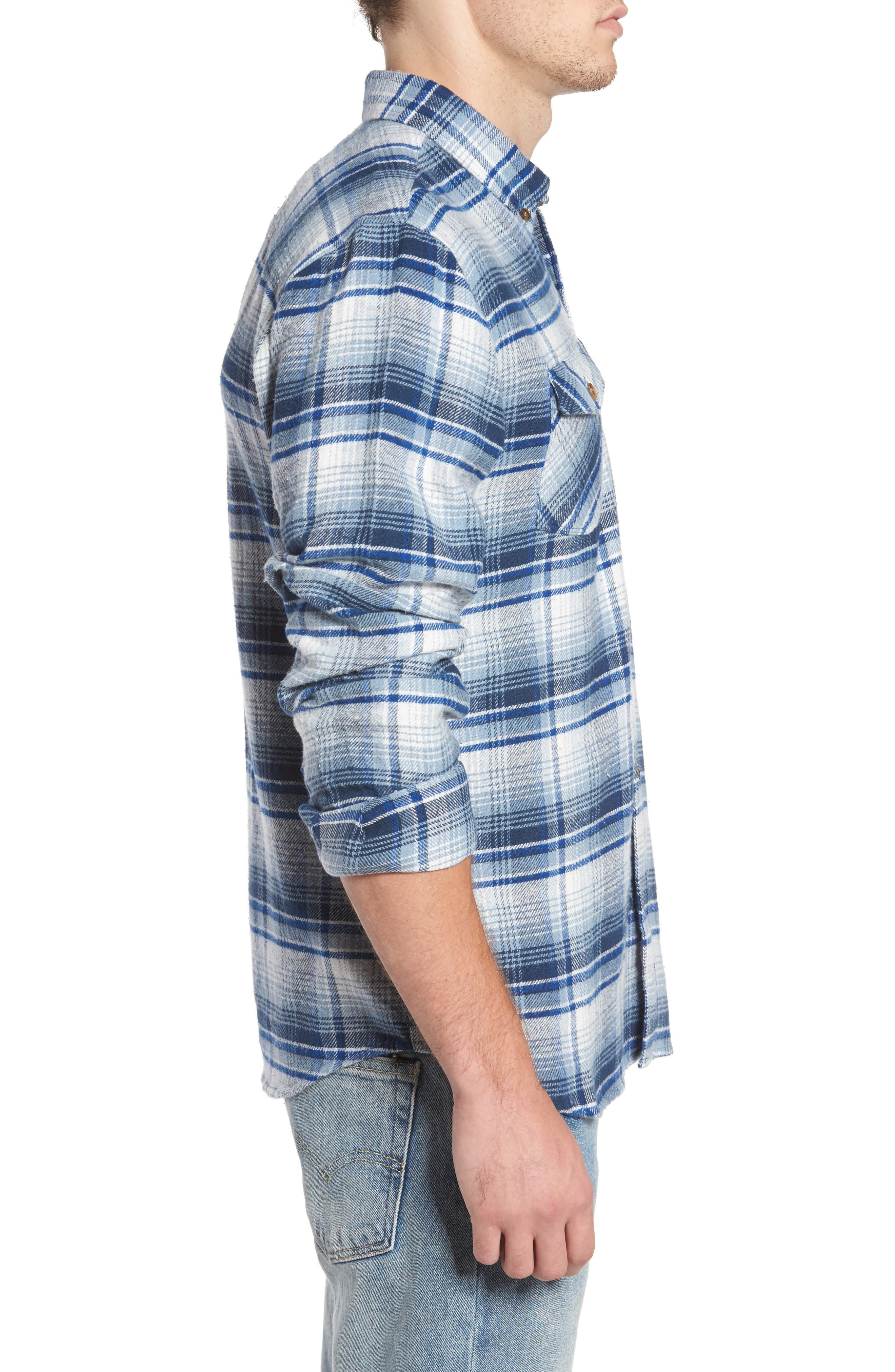 Butler Plaid Flannel Sport Shirt,                             Alternate thumbnail 8, color,