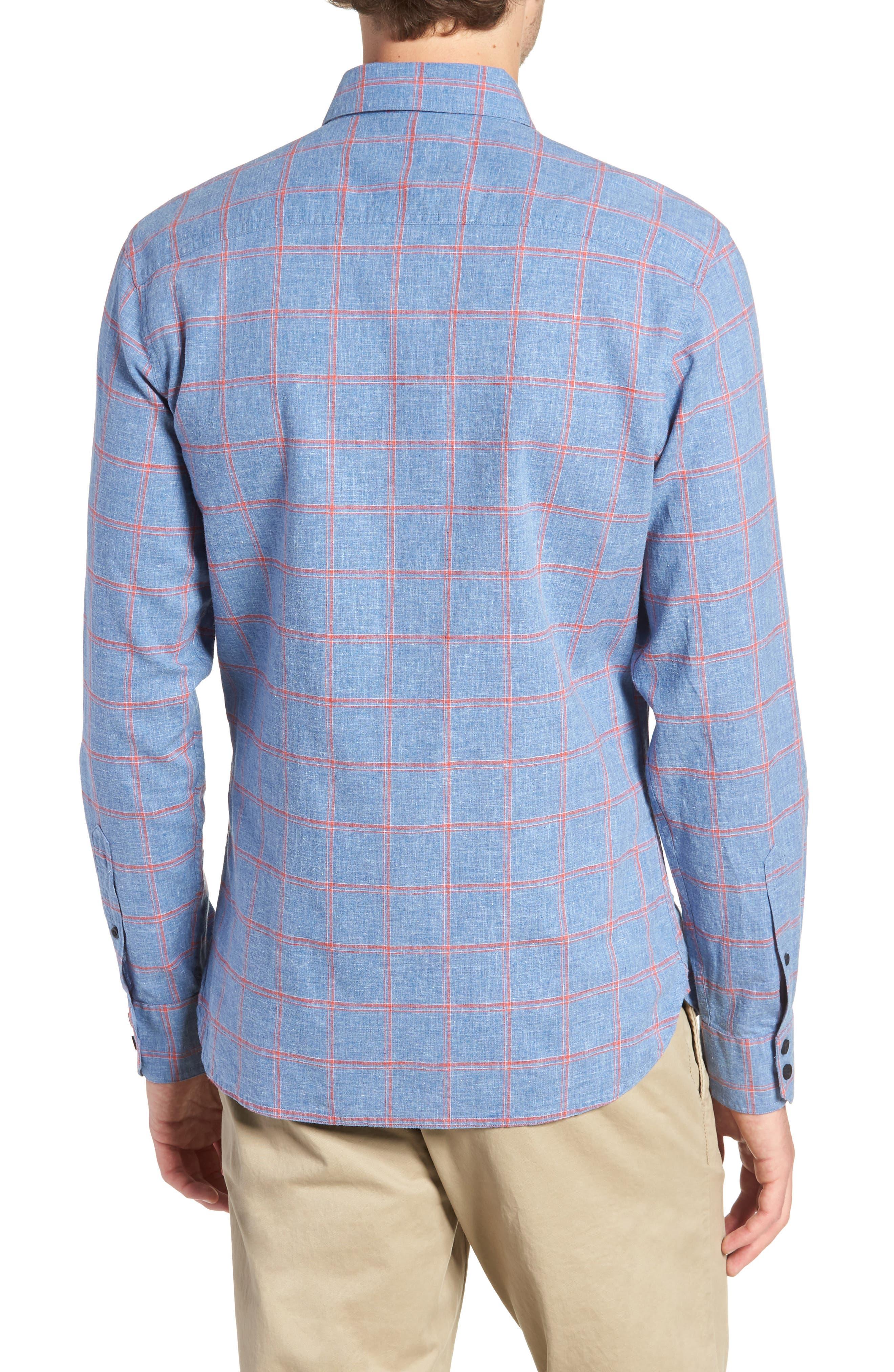 Trim Fit Windowpane Linen & Cotton Sport Shirt,                             Alternate thumbnail 2, color,                             420