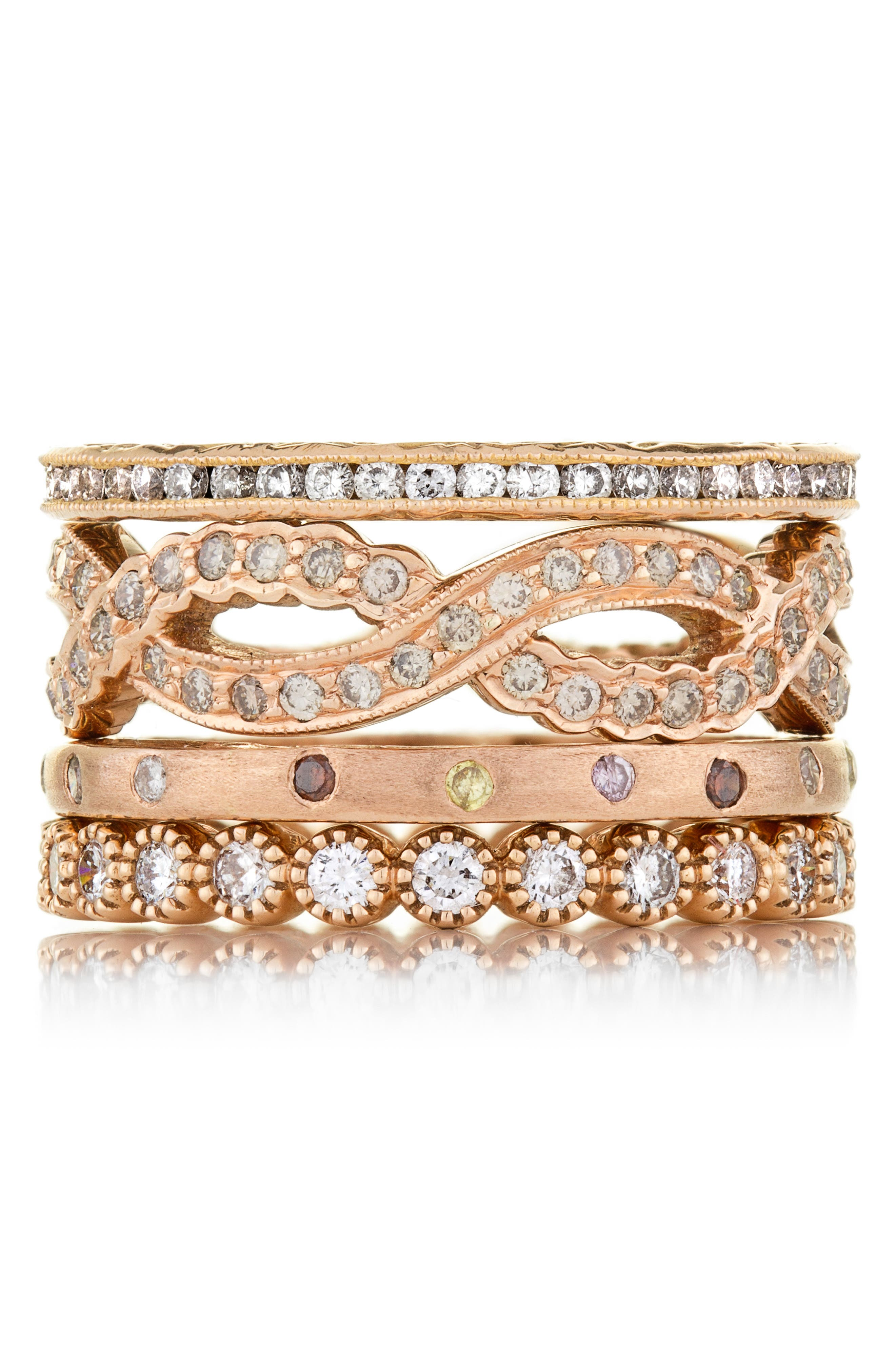 Dunes Diamond Stacking Band Ring,                             Alternate thumbnail 3, color,                             ROSE GOLD/ DIAMOND