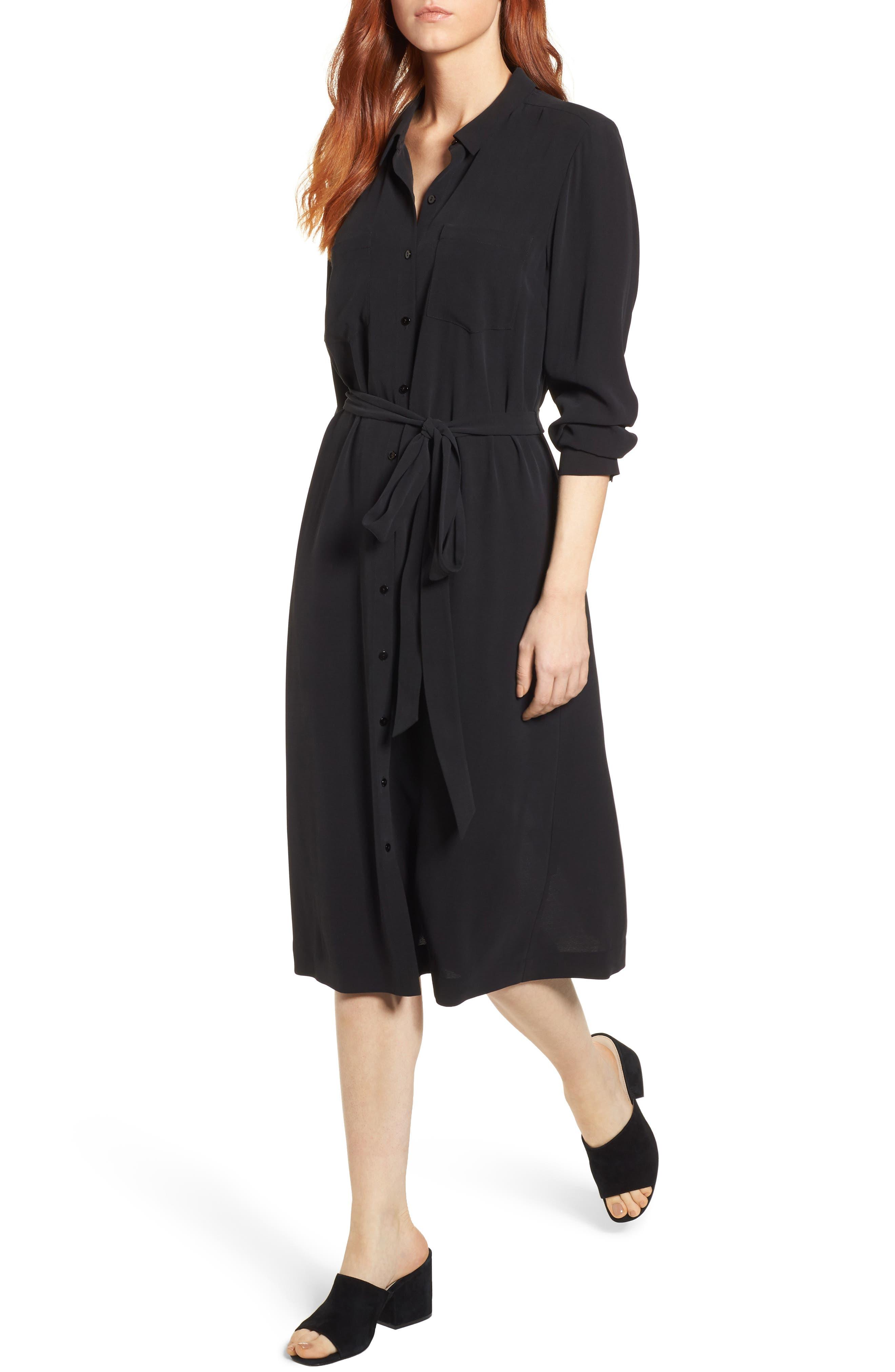 Silk Georgette Crepe Shirtdress,                         Main,                         color, 001