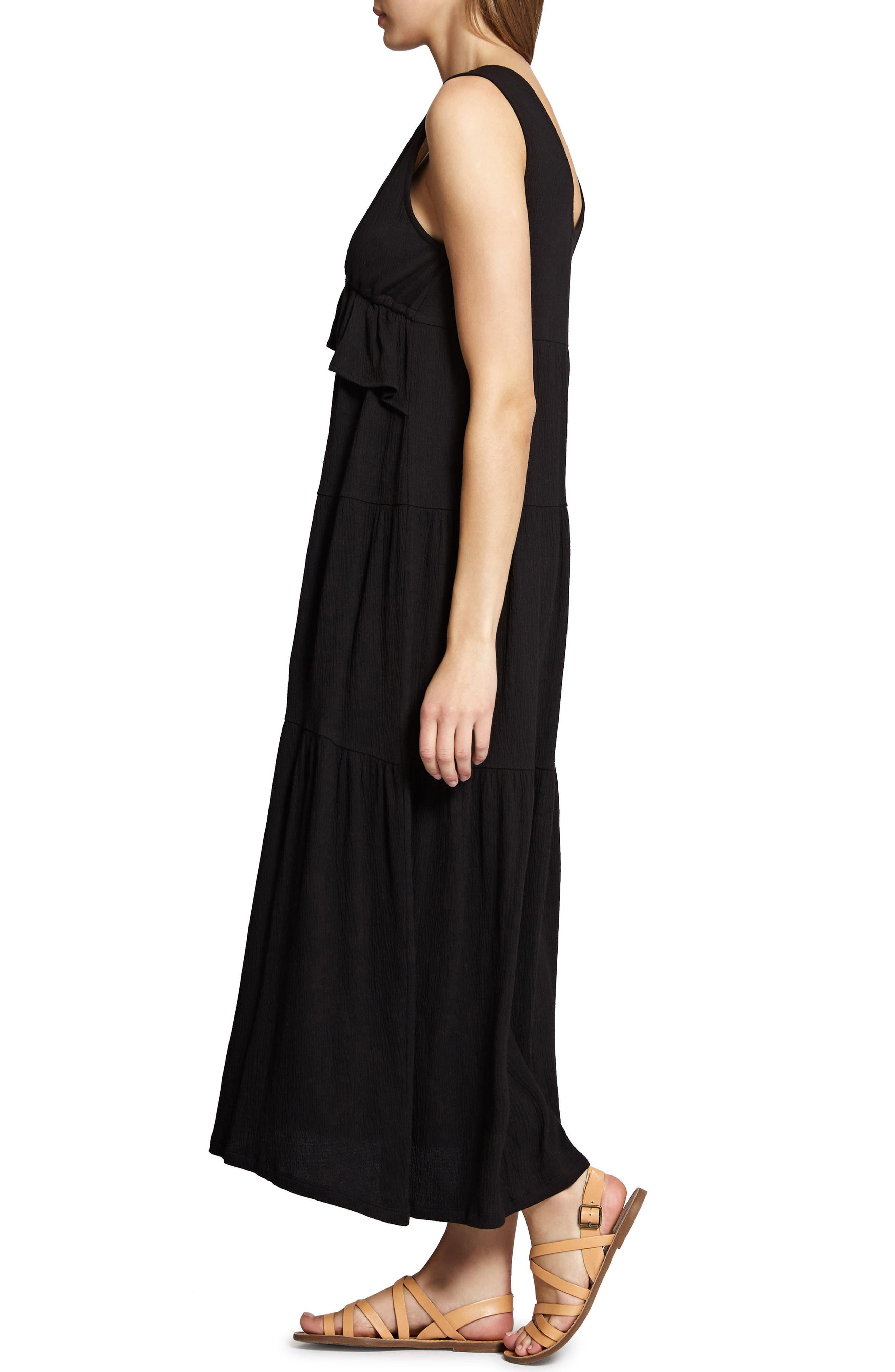 Delphina Tiered Maxi Dress,                             Alternate thumbnail 3, color,                             001