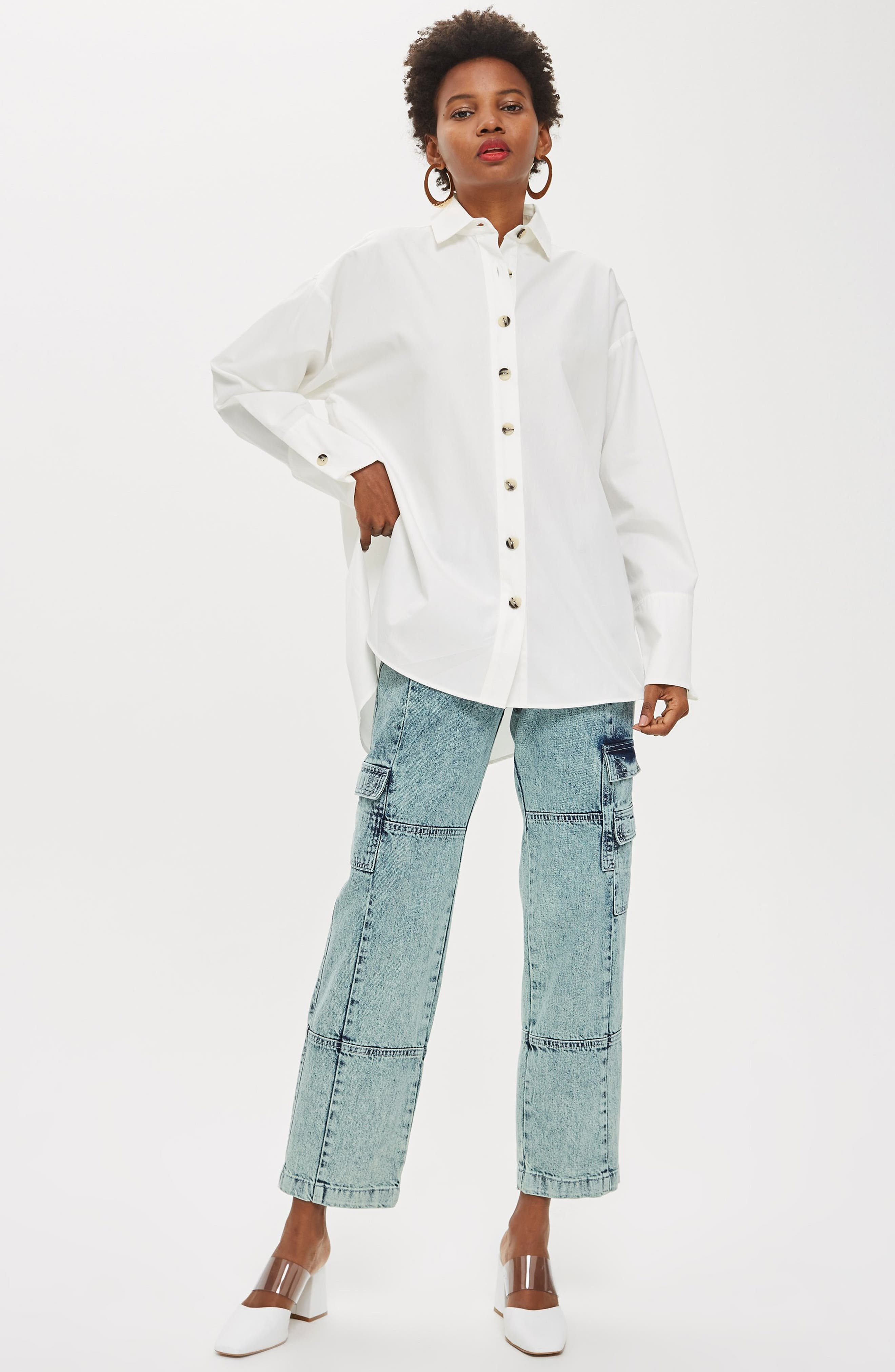 Oversized Split Side Cotton Shirt,                             Alternate thumbnail 6, color,                             CREAM