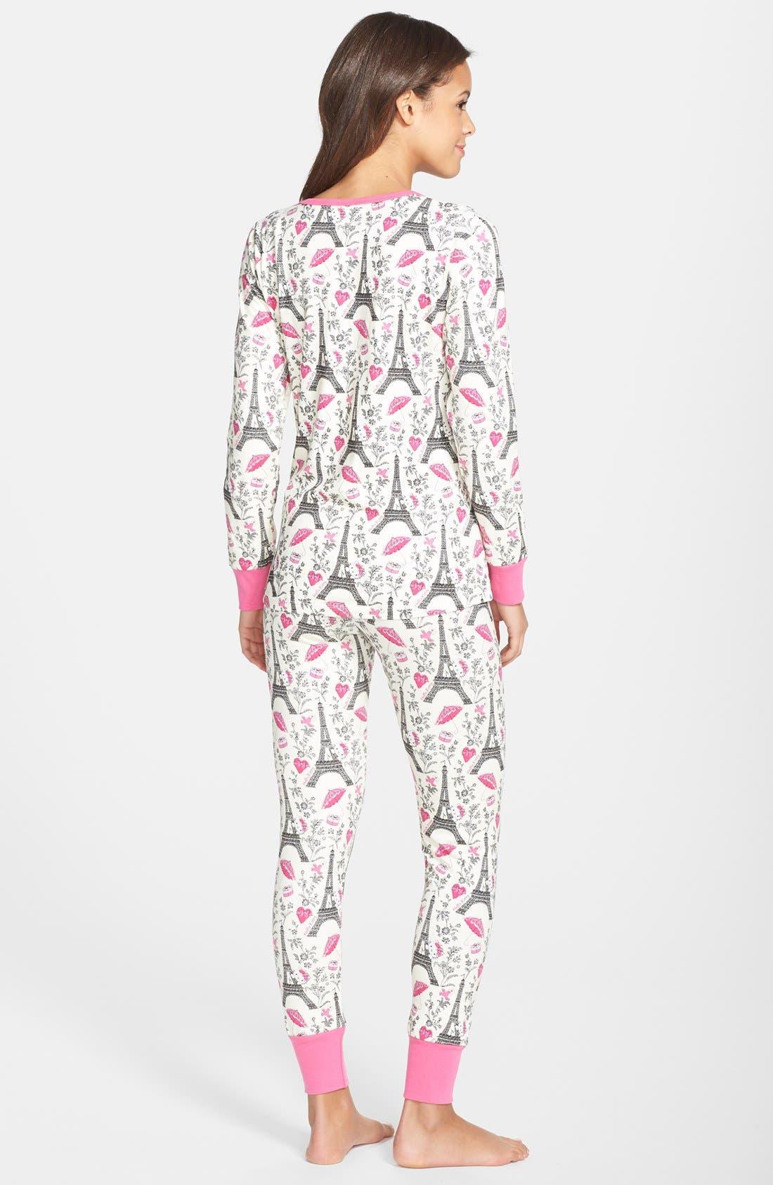 Hello Kitty<sup>®</sup> Print Henley Pajamas,                             Alternate thumbnail 2, color,                             100