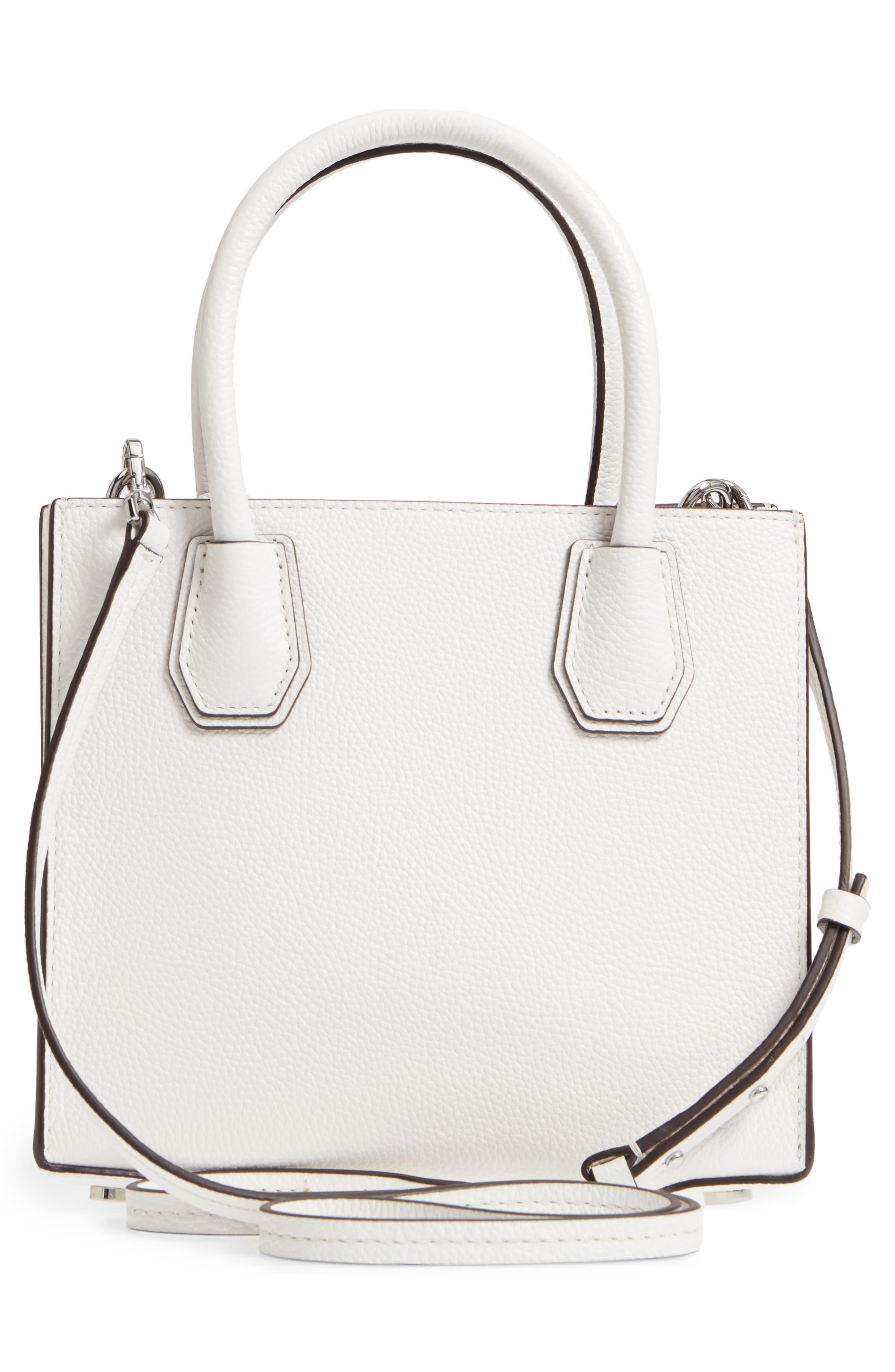 Mercer Leather Crossbody Bag,                             Alternate thumbnail 3, color,                             WHITE