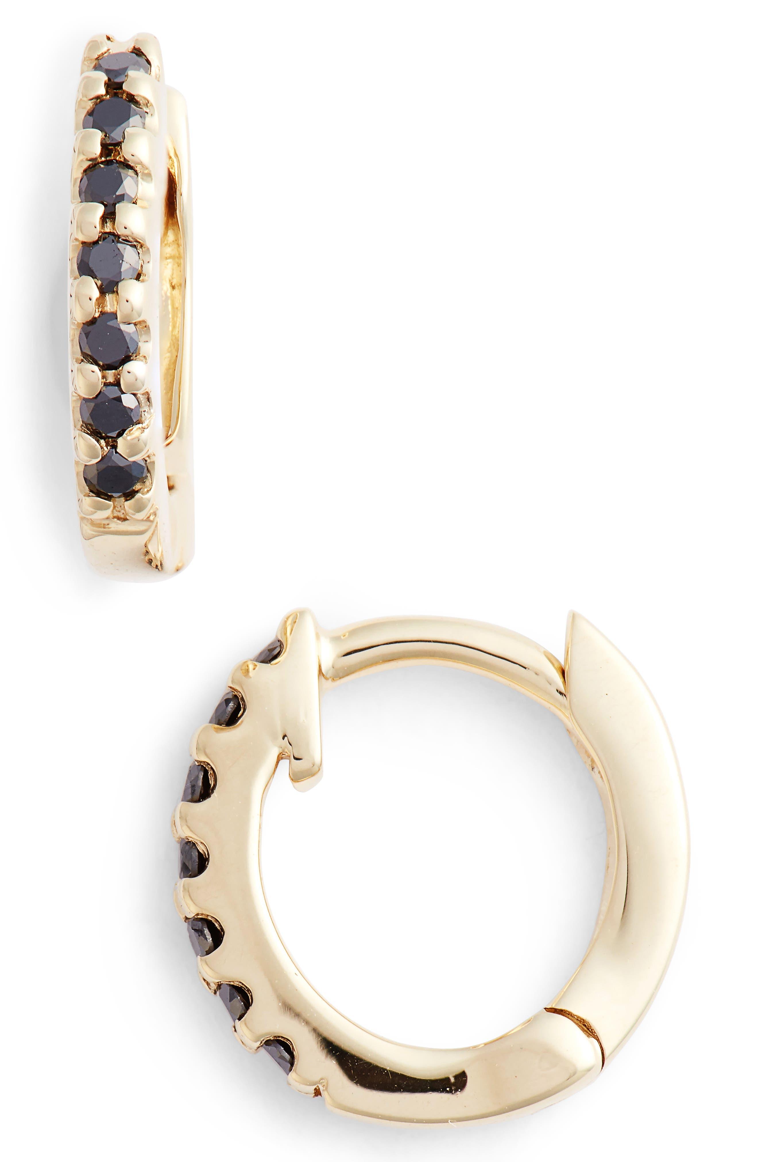 Mini Black Diamond Earrings,                             Main thumbnail 1, color,