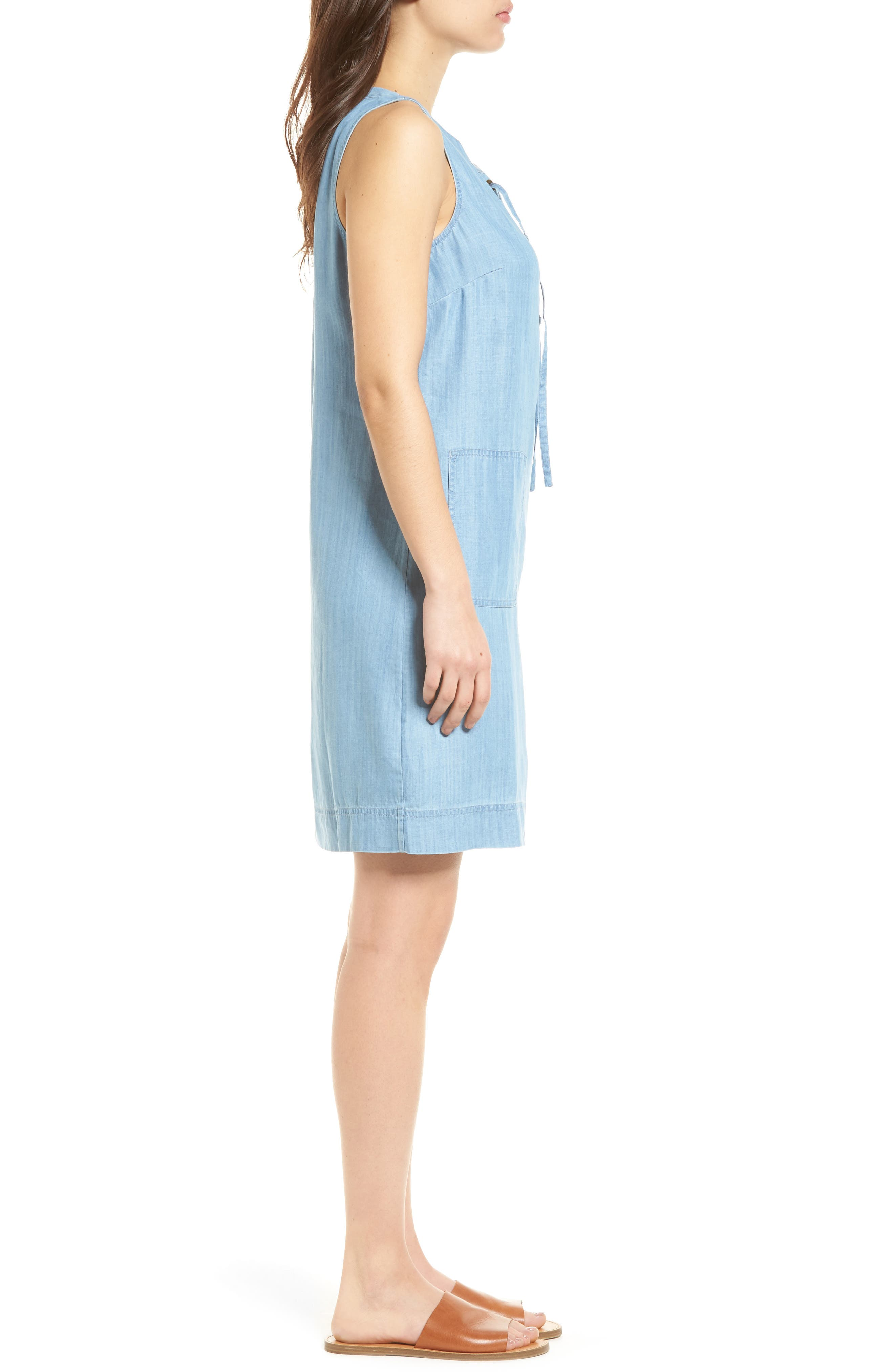 Lace-Up Chambray Shift Dress,                             Alternate thumbnail 3, color,                             400