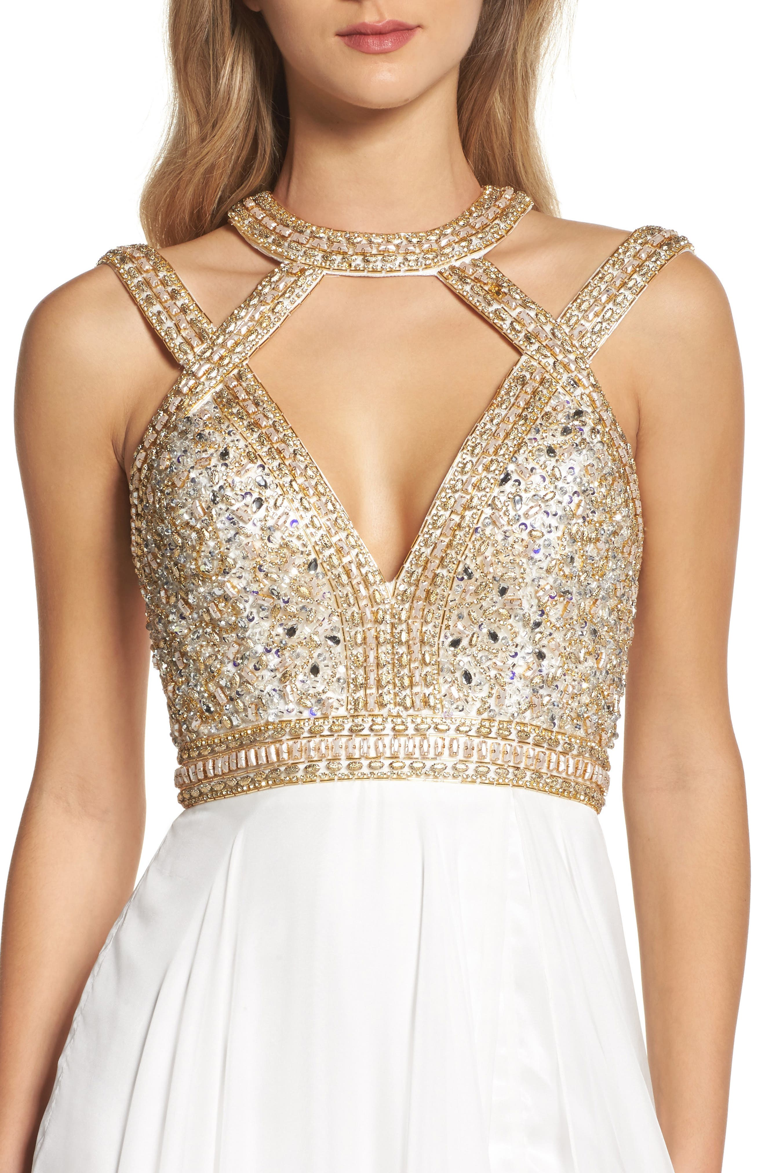 Beaded Cutout Bodice Gown,                             Alternate thumbnail 4, color,                             118