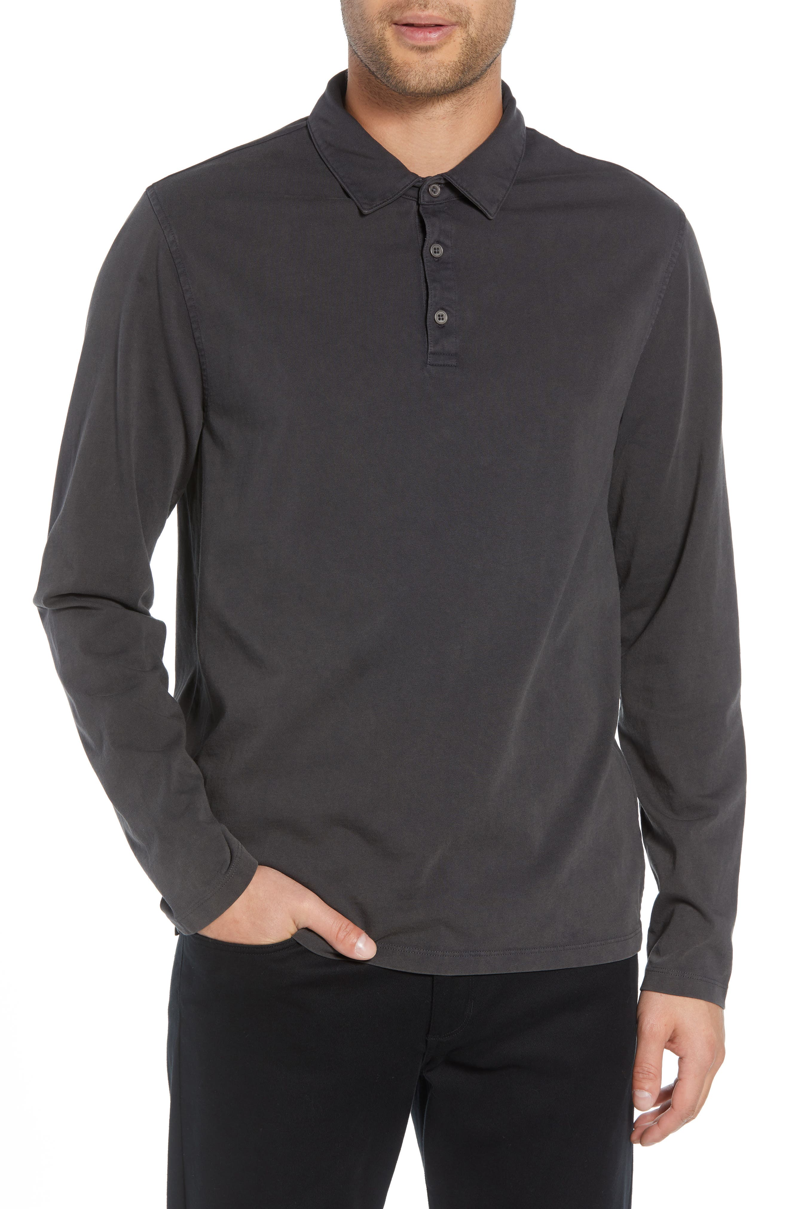 Regular Fit Garment Dye Long Sleeve Polo,                             Main thumbnail 1, color,                             WASHED BLACK