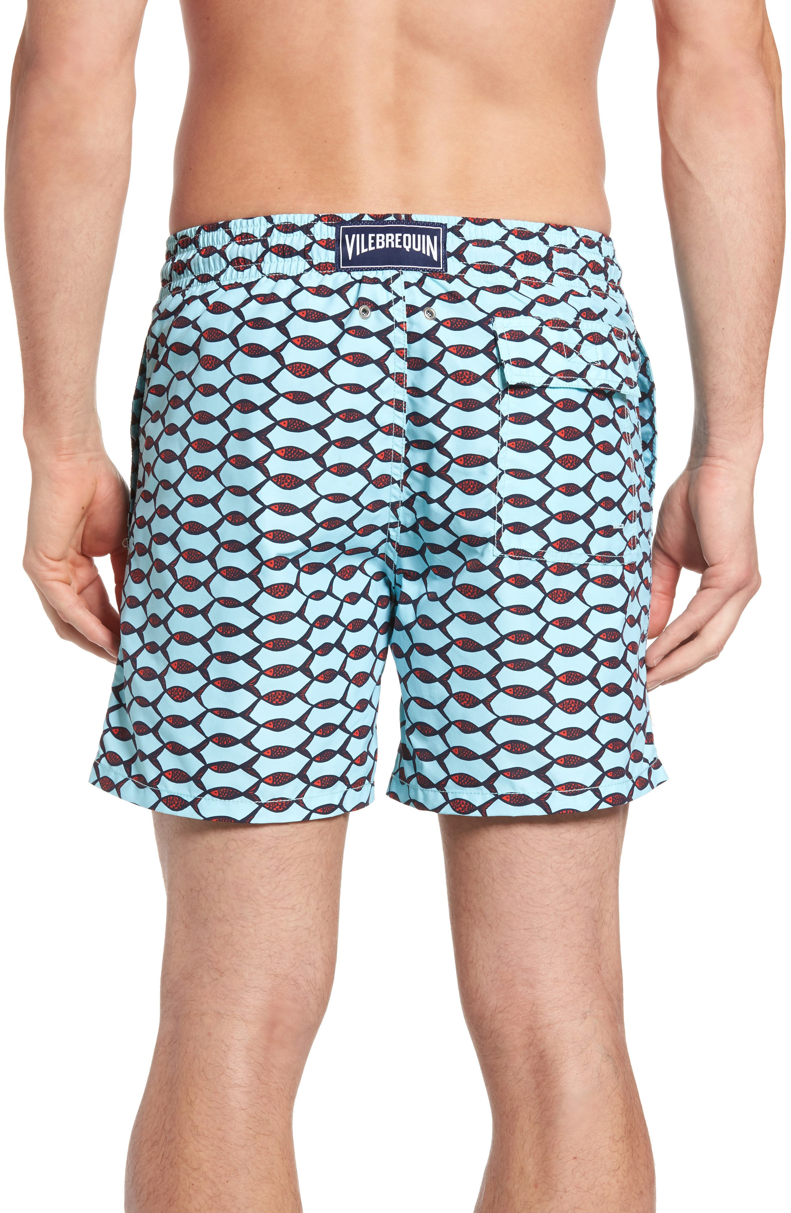 Moorea Fishnet Print Swim Trunks,                             Alternate thumbnail 2, color,                             FROSTED BLUE