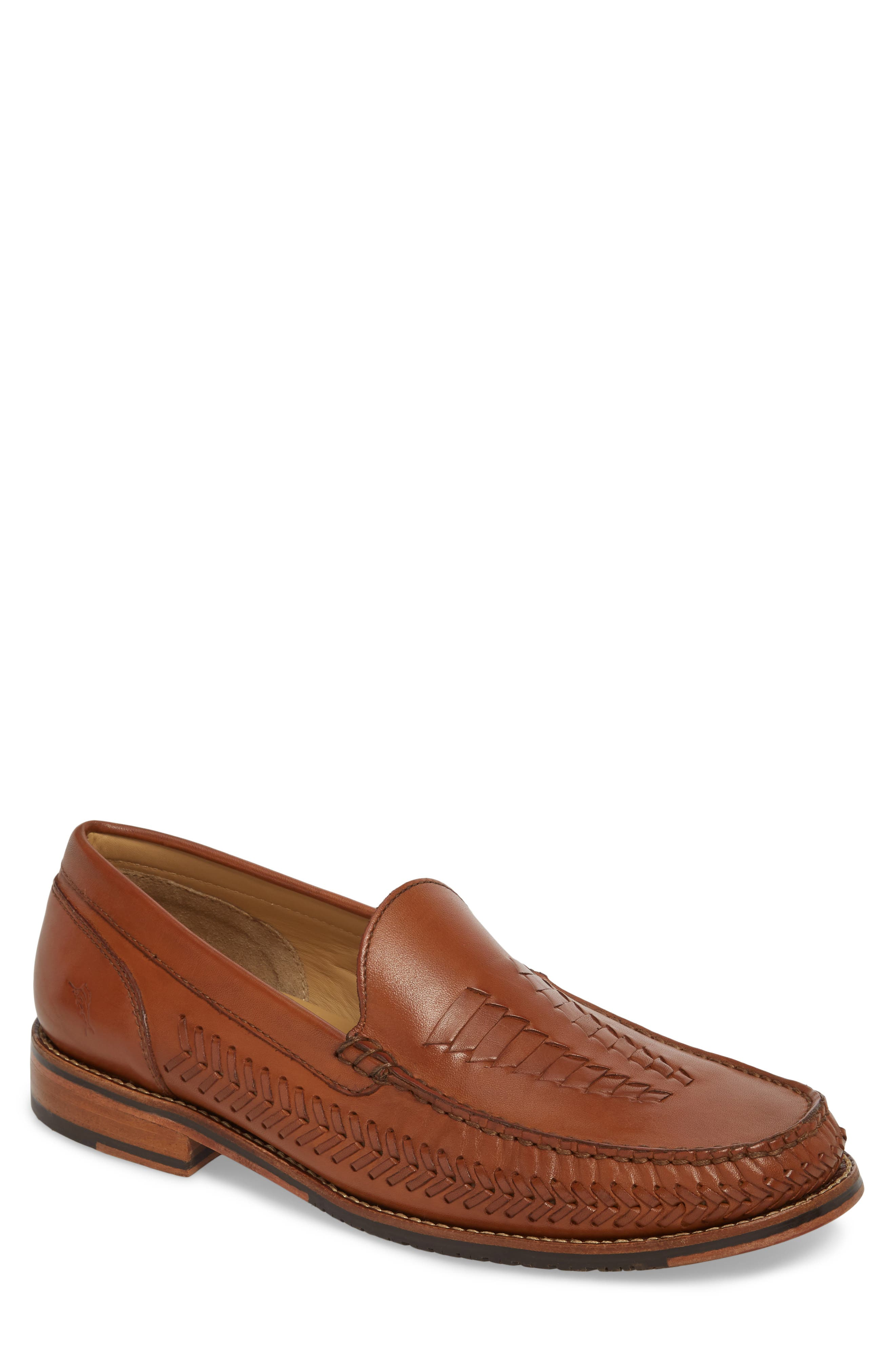 Hasslington Woven Venetian Loafer,                         Main,                         color, TAN LEATHER
