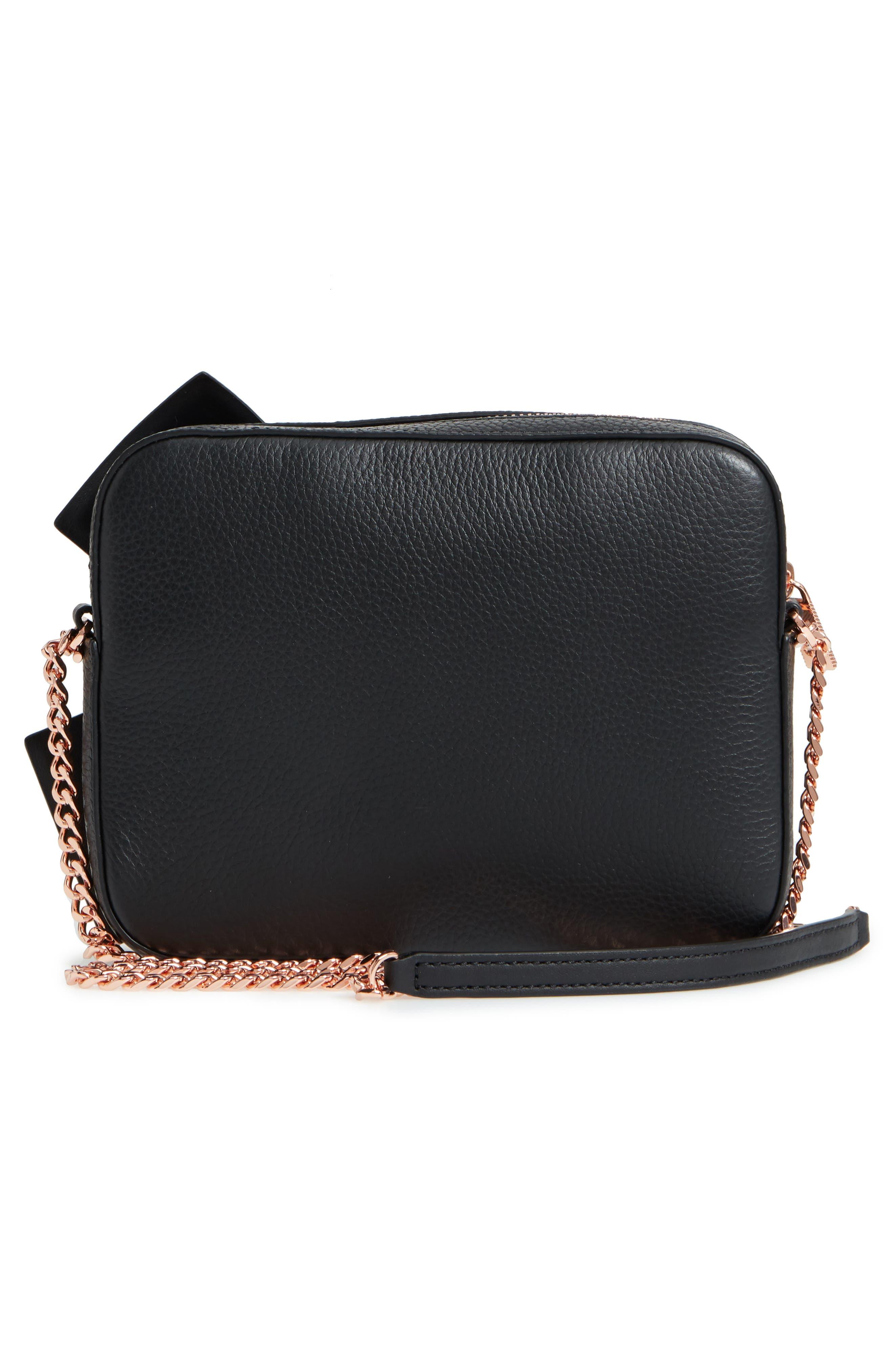 Giant Knot Leather Camera Bag,                             Alternate thumbnail 3, color,                             BLACK