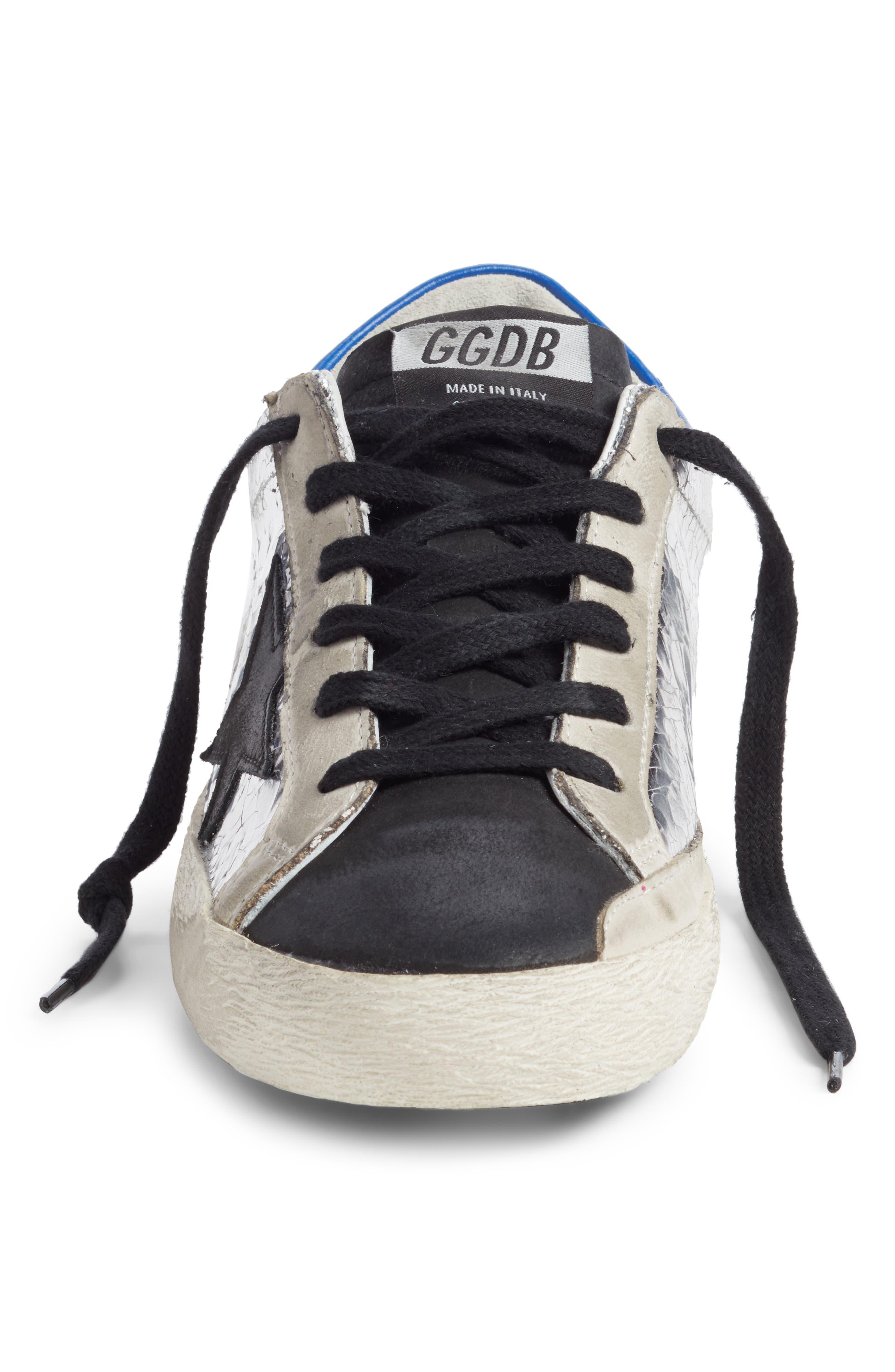GOLDEN GOOSE,                             Superstar Sneaker,                             Alternate thumbnail 4, color,                             SILVER/ BLUE