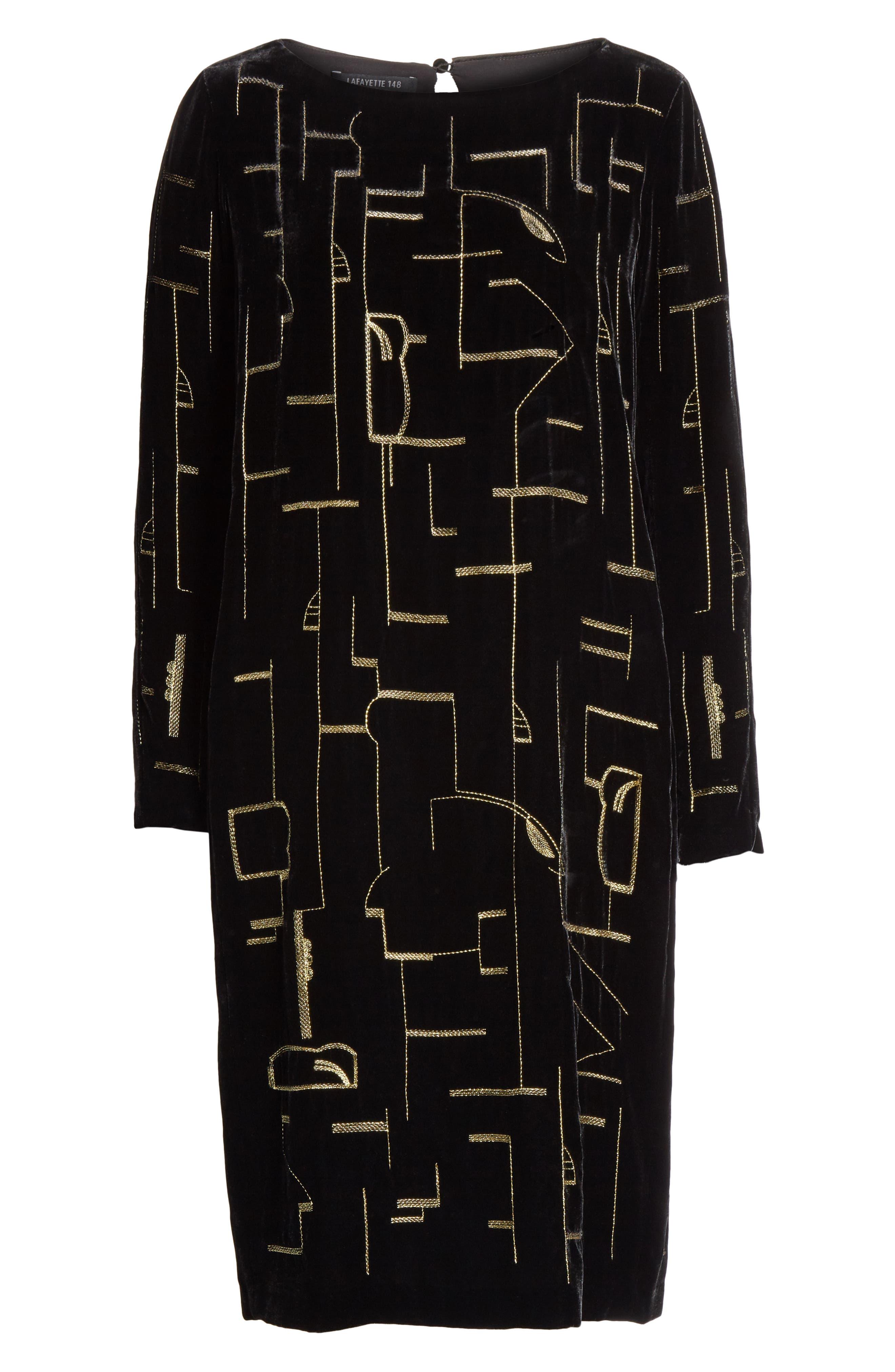 LAFAYETTE 148 NEW YORK,                             Cressida Embellished Velvet Dress,                             Alternate thumbnail 7, color,                             BLACK MULTI
