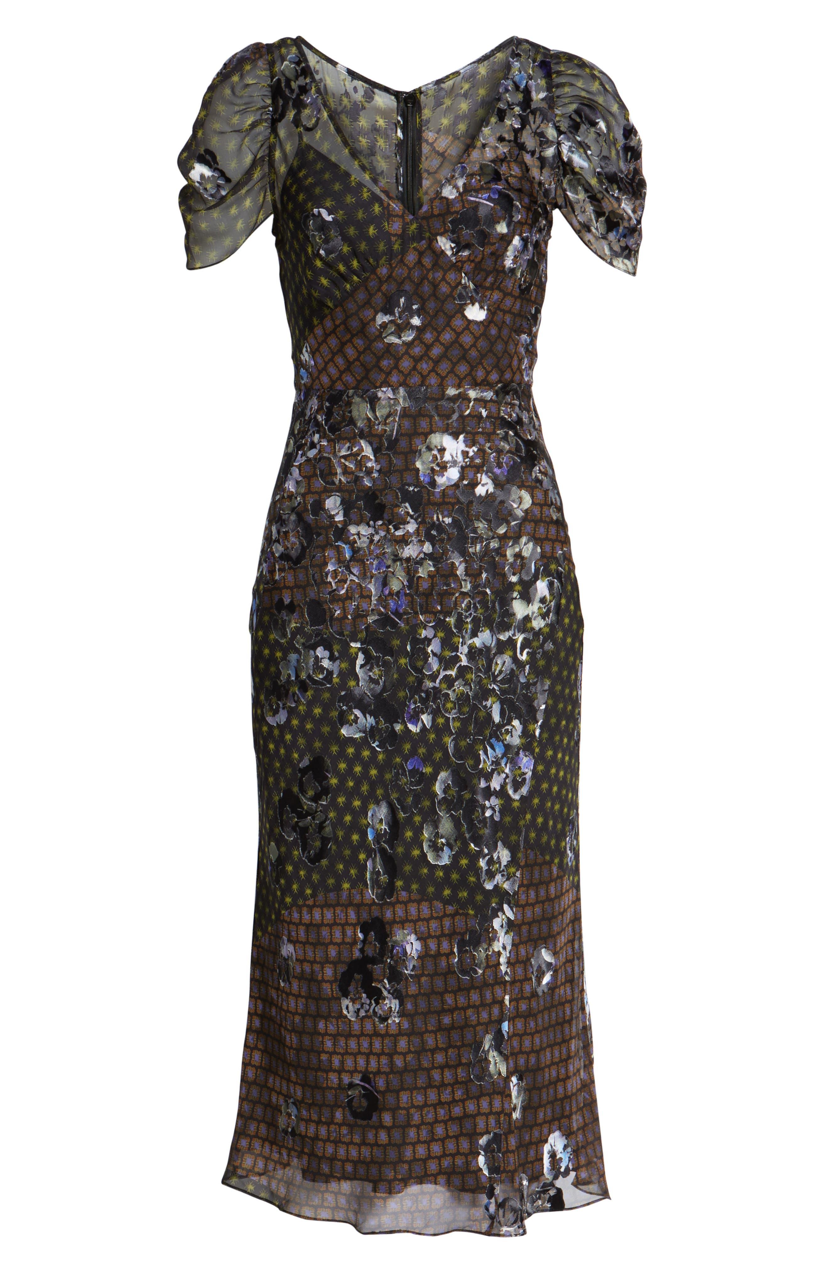Puff Sleeve Devore Jacquard Midi Dress,                             Alternate thumbnail 6, color,                             001