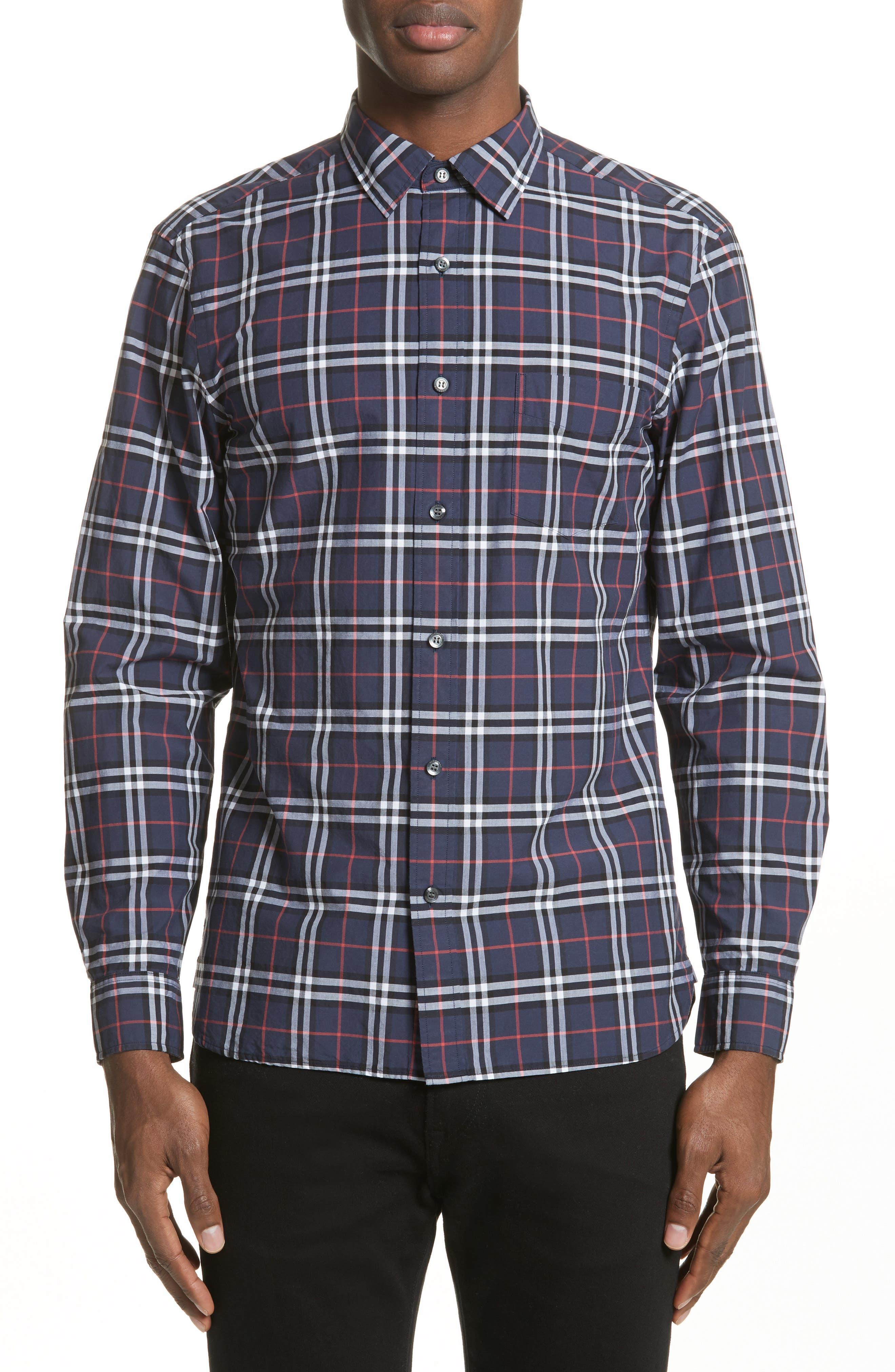 Alexander Check Sport Shirt,                         Main,                         color, NAVY