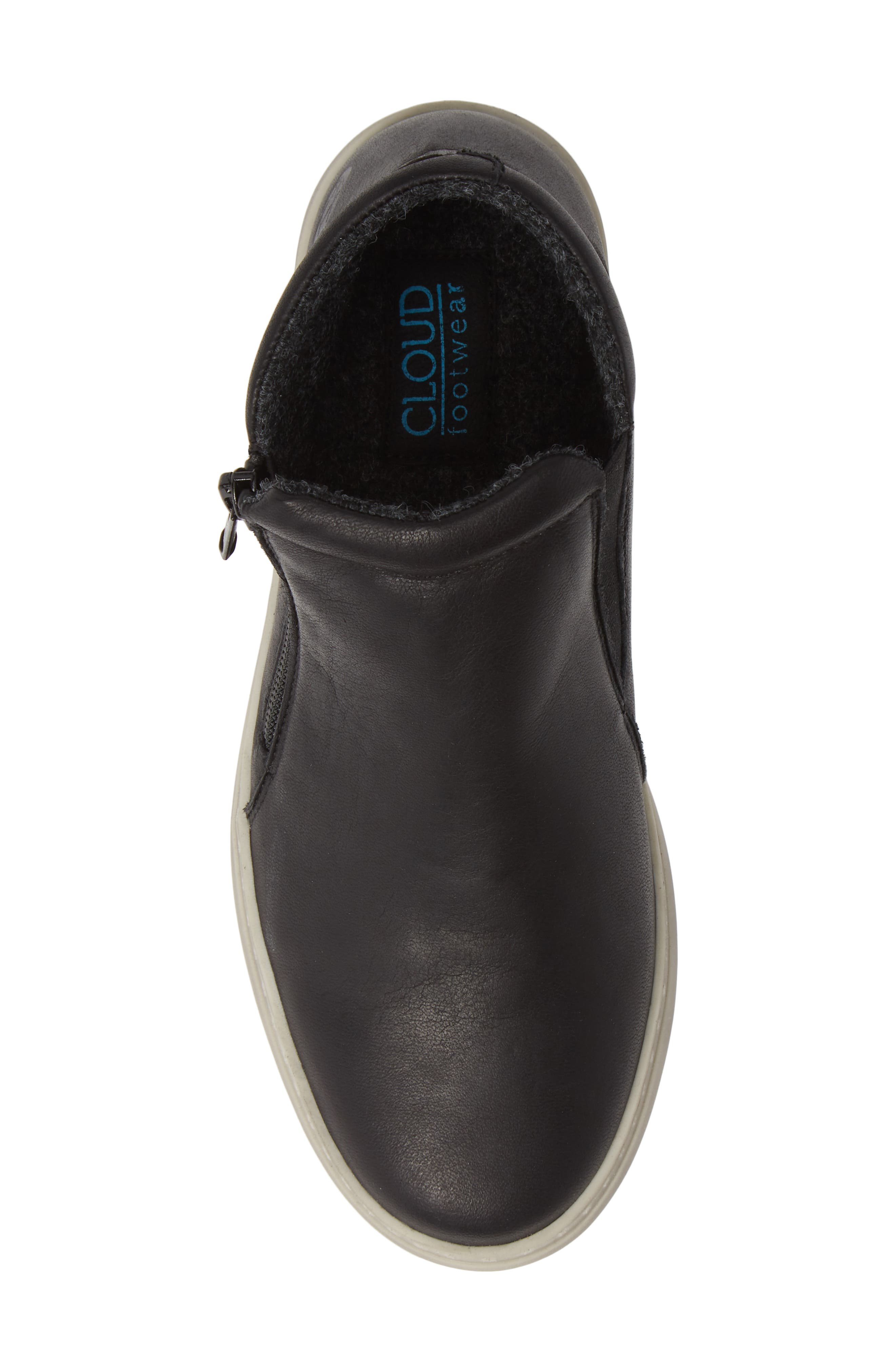CLOUD,                             Qupid Wool Lined Sneaker,                             Alternate thumbnail 5, color,                             BLACK LEATHER