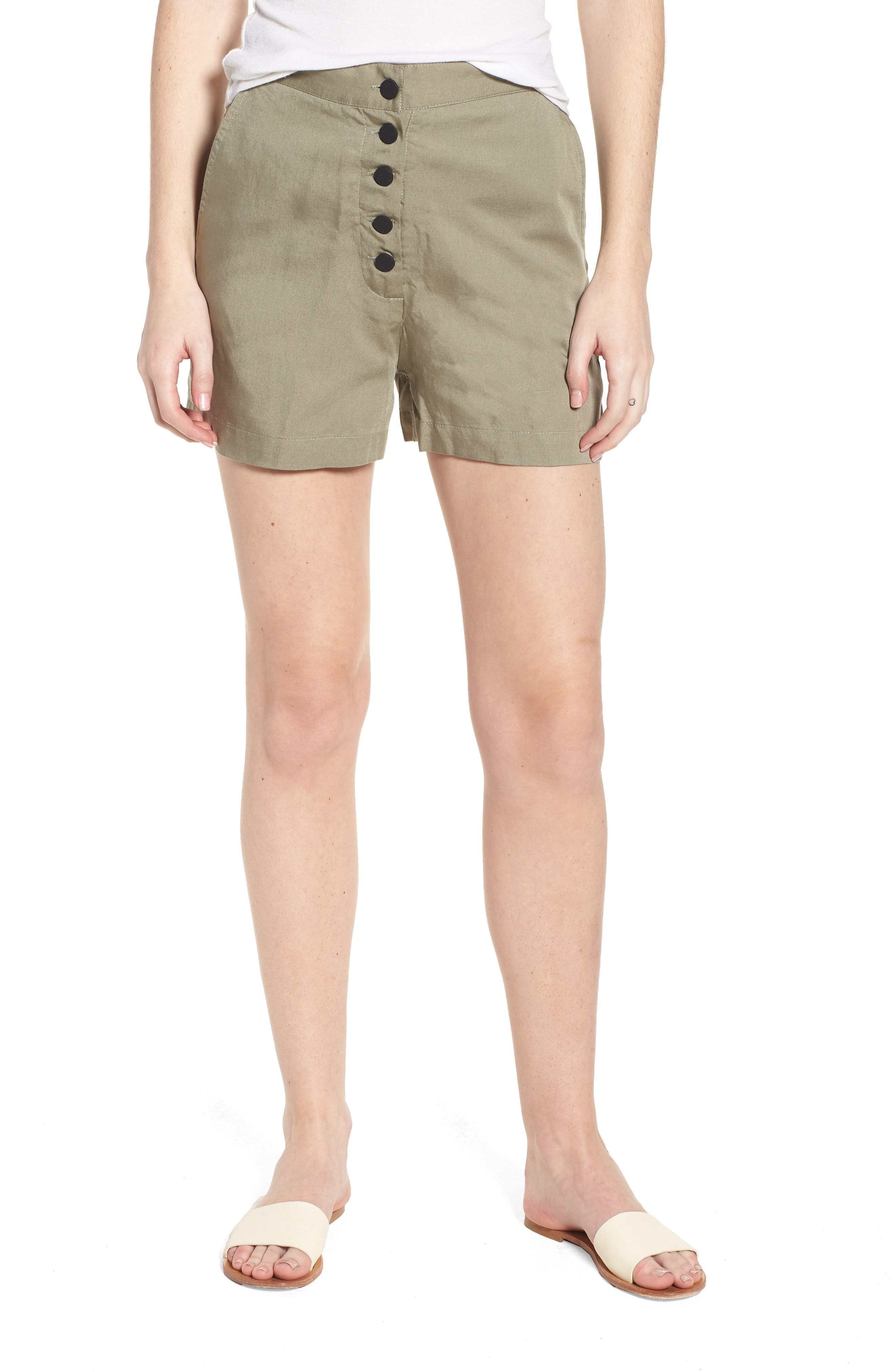 High Waist Shorts,                         Main,                         color, SEA GRASS