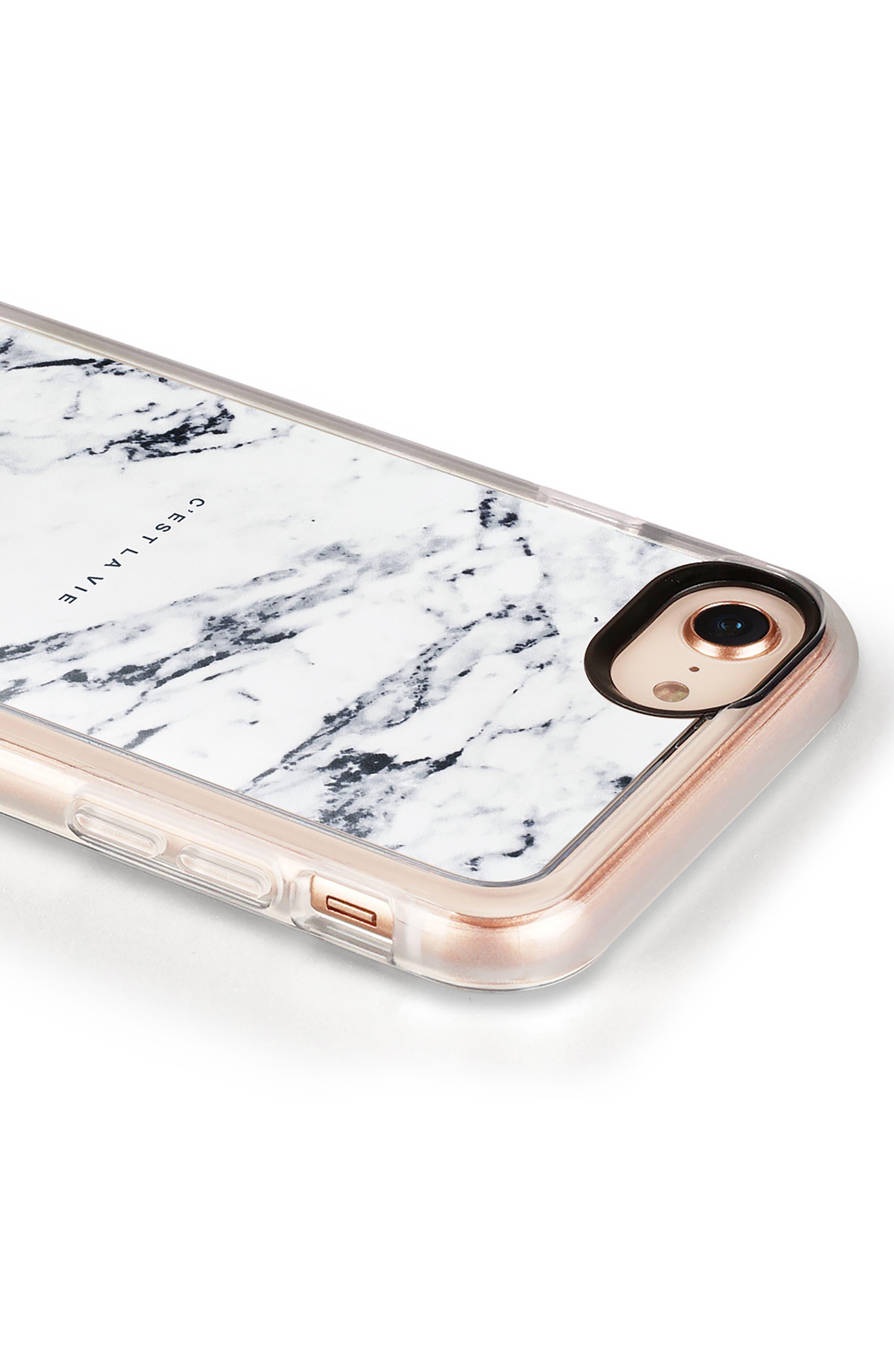 C'est la Vie Marble iPhone 7/8 & 7/8 Plus Case,                             Alternate thumbnail 4, color,                             WHITE MARBLE
