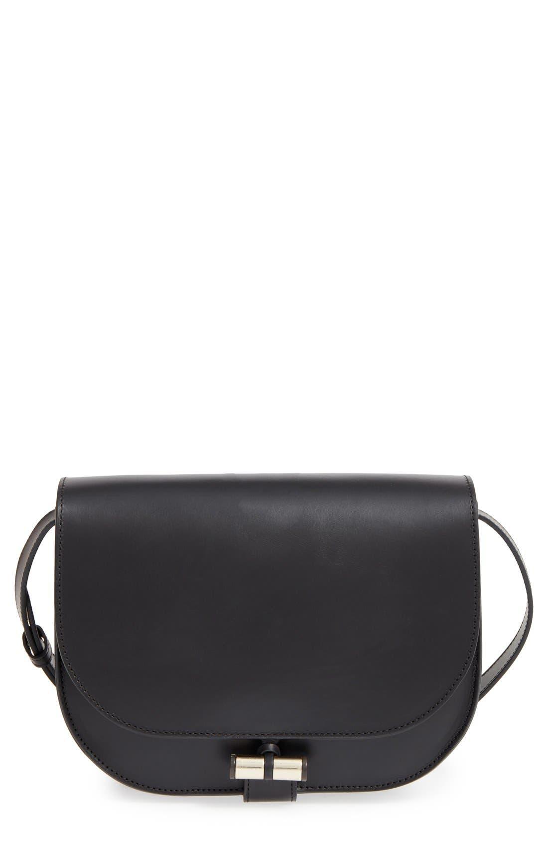 'Sac June' Leather Shoulder Bag, Main, color, 001