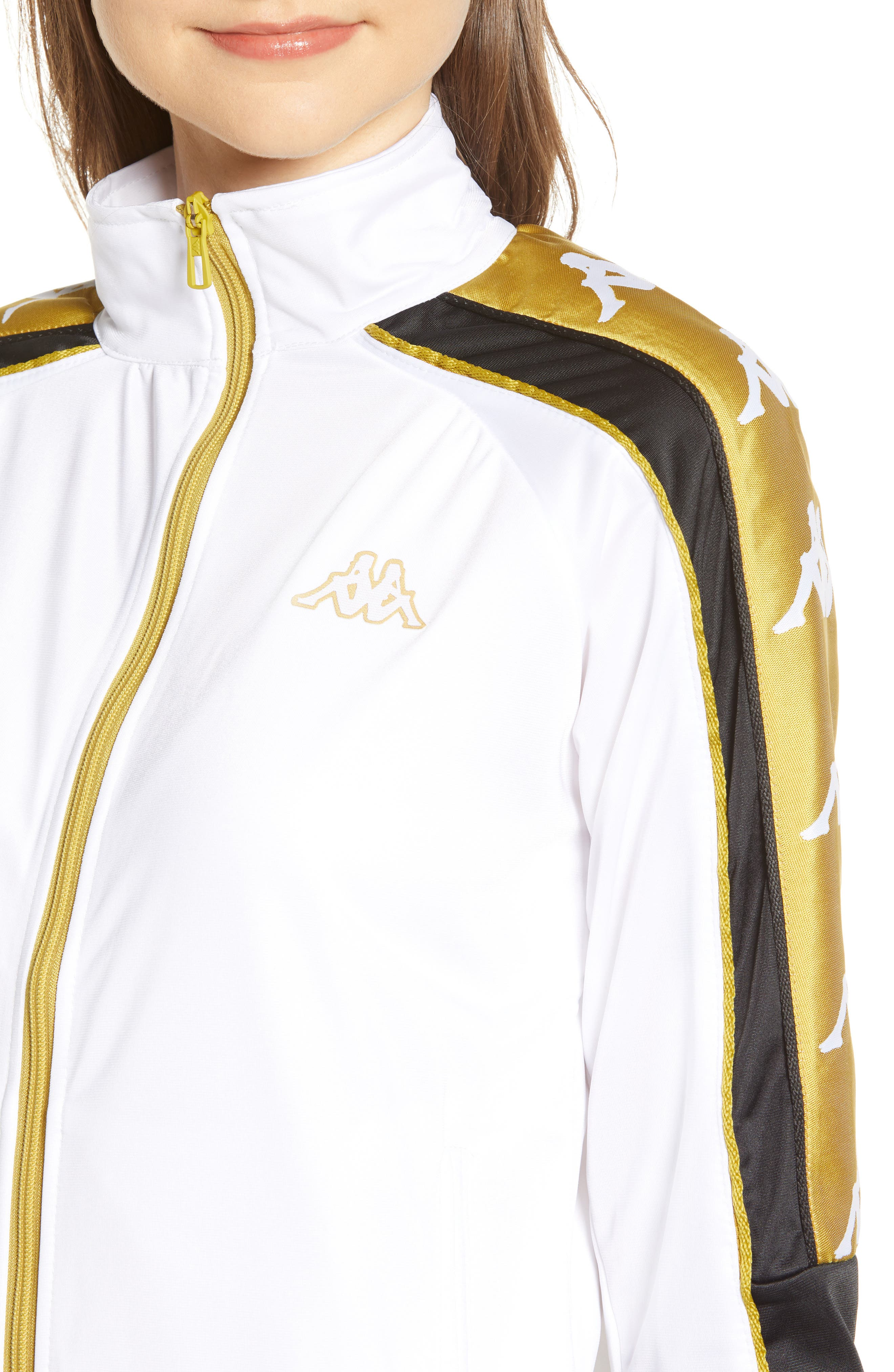 Active Logo Warmup Jacket,                             Alternate thumbnail 4, color,                             WHITE/ YELLOW GOLD