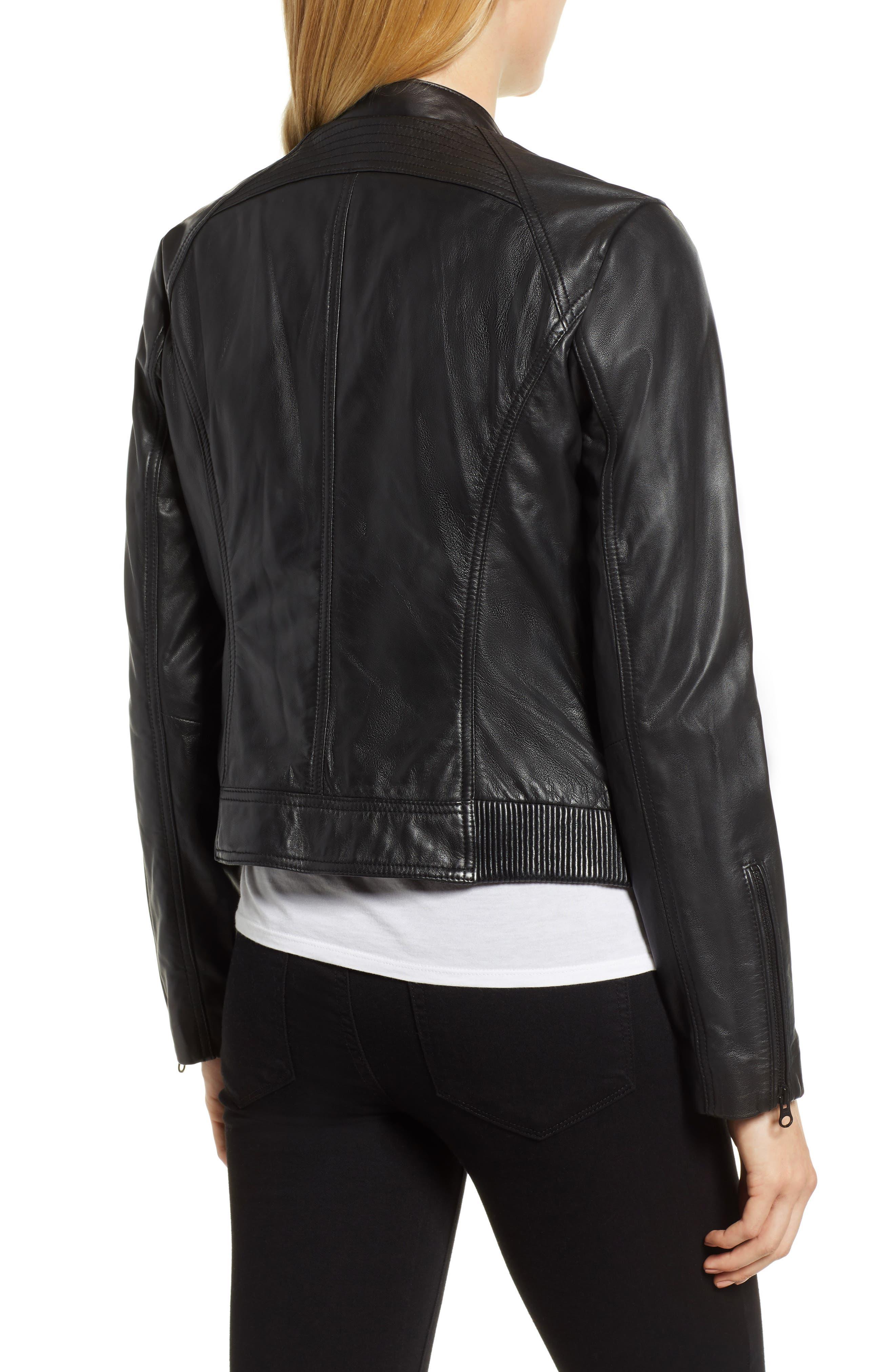 Zip Racer Leather Jacket,                             Alternate thumbnail 2, color,                             BLACK
