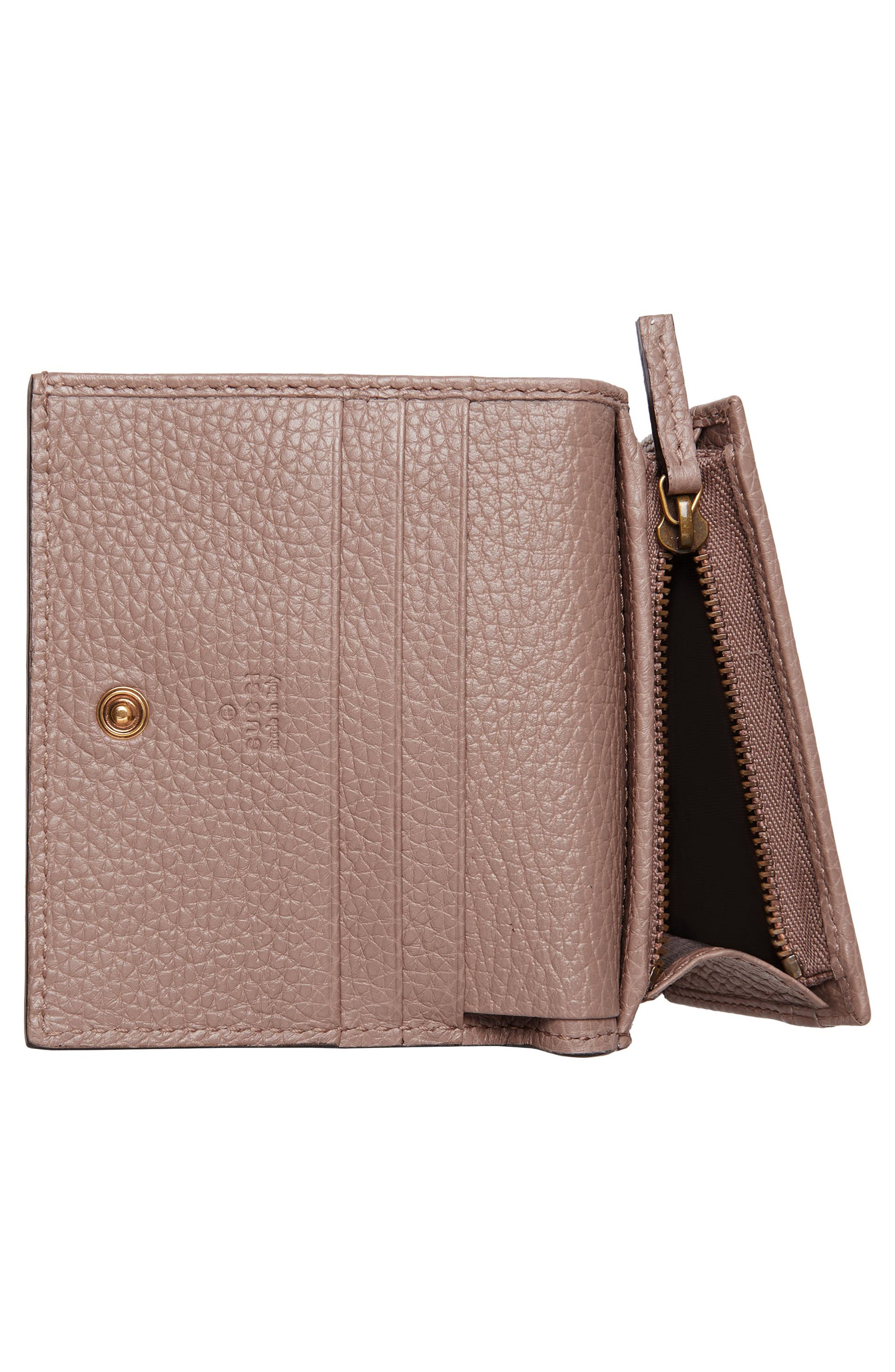 Animalier Bee Leather Card Case,                             Alternate thumbnail 4, color,                             PORCELAIN ROSE