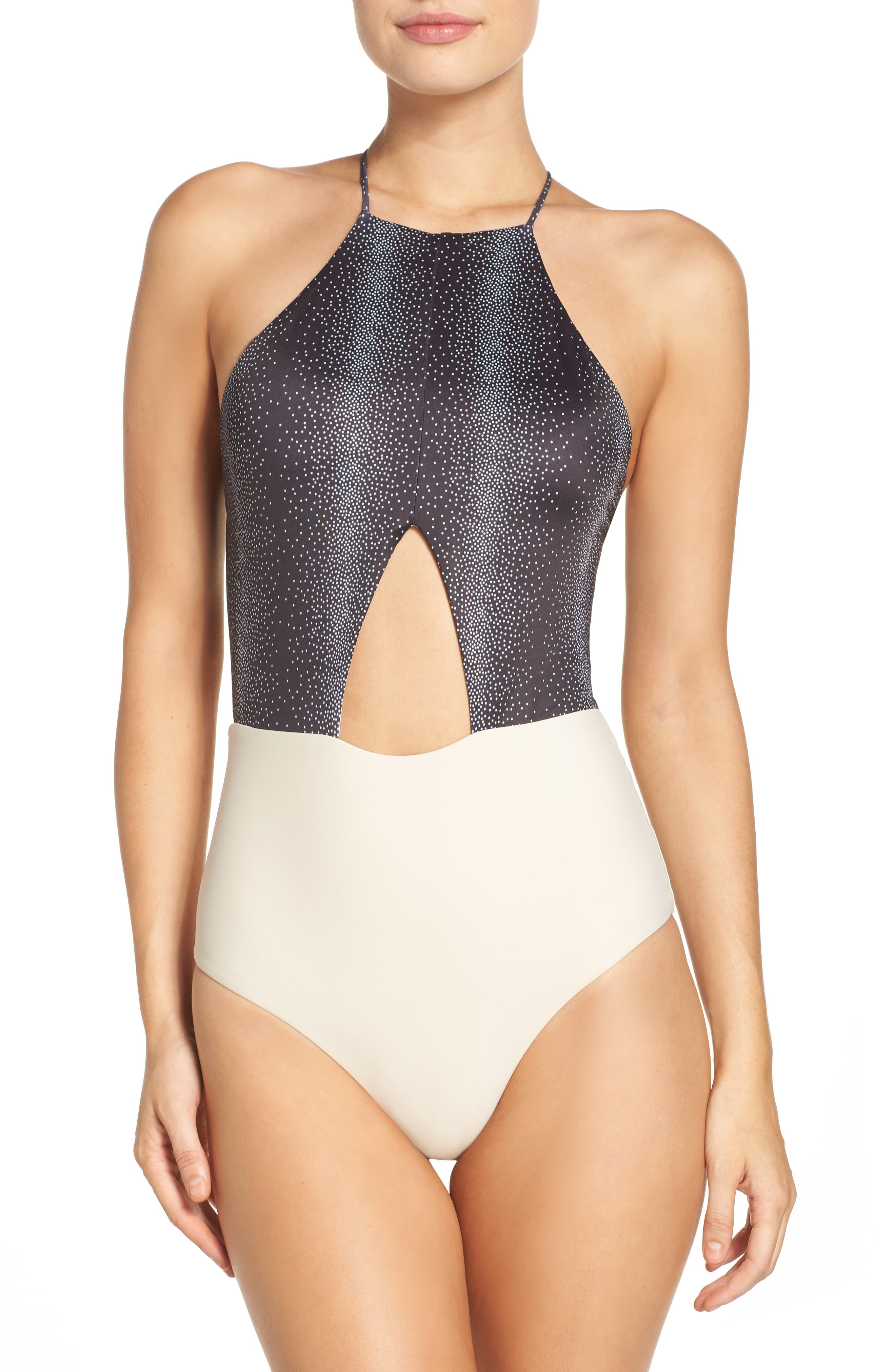 Lela One-Piece Swimsuit,                             Main thumbnail 1, color,                             BLACK PERCY DOT