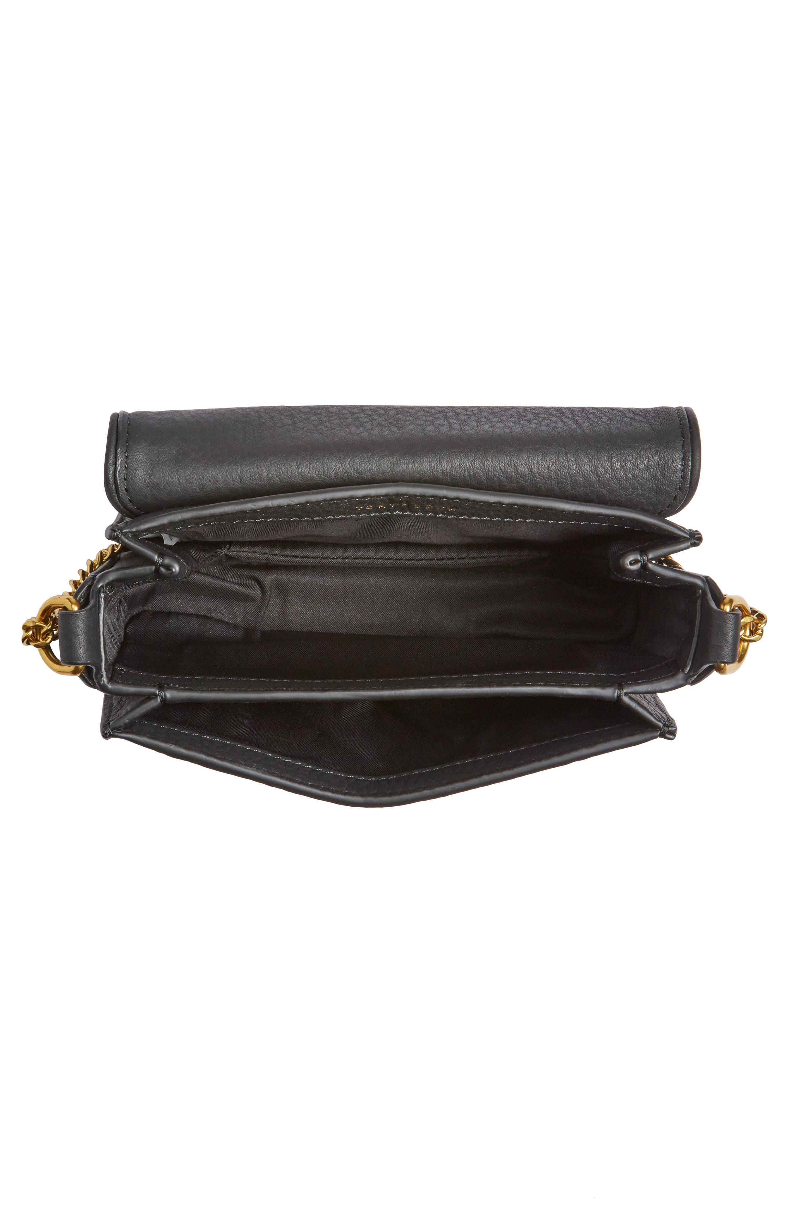 Mini Chelsea Leather Convertible Crossbody Bag,                             Alternate thumbnail 4, color,                             001