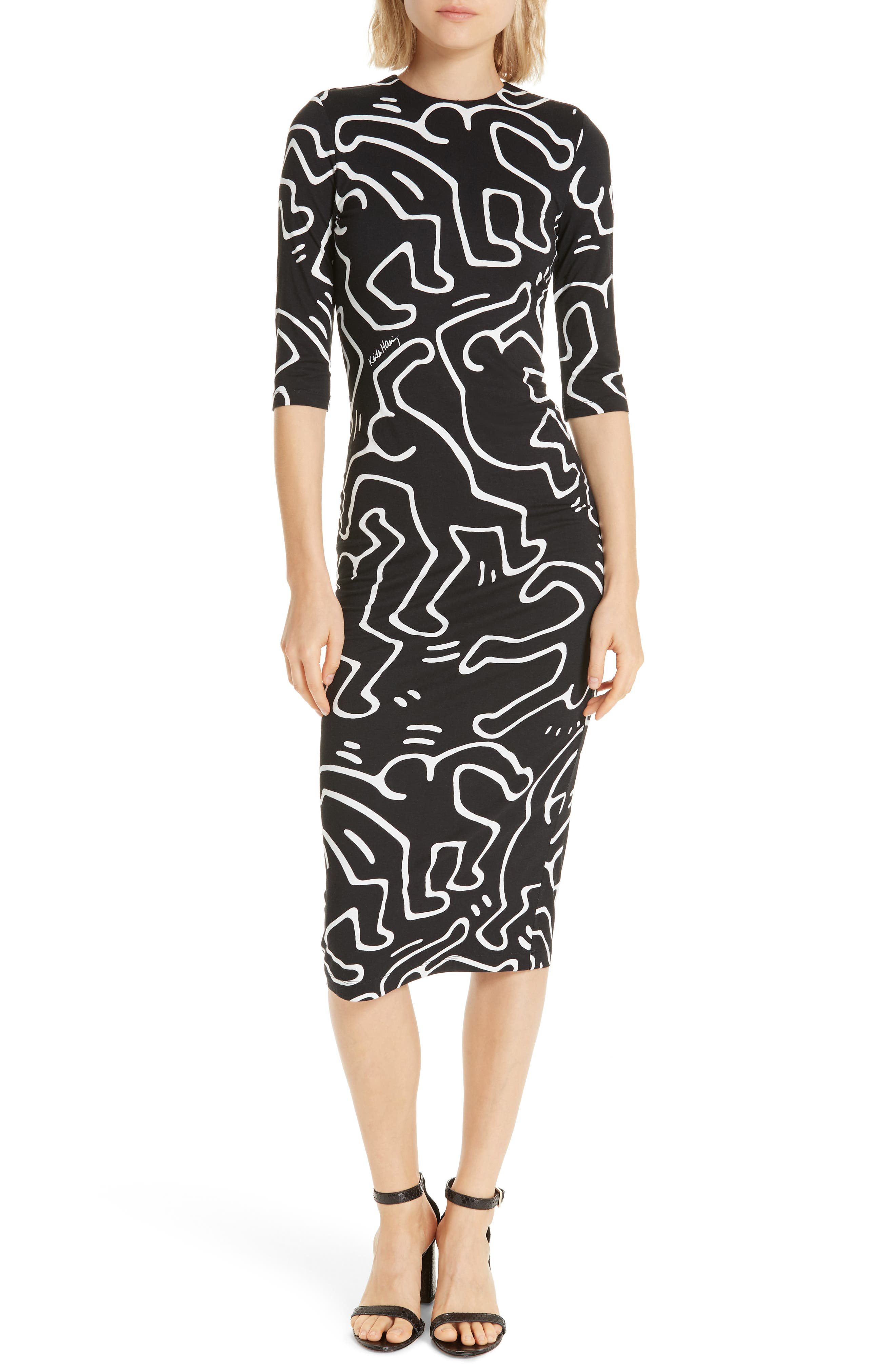 Alice + Olivia X Keith Haring Delora Fitted Dress
