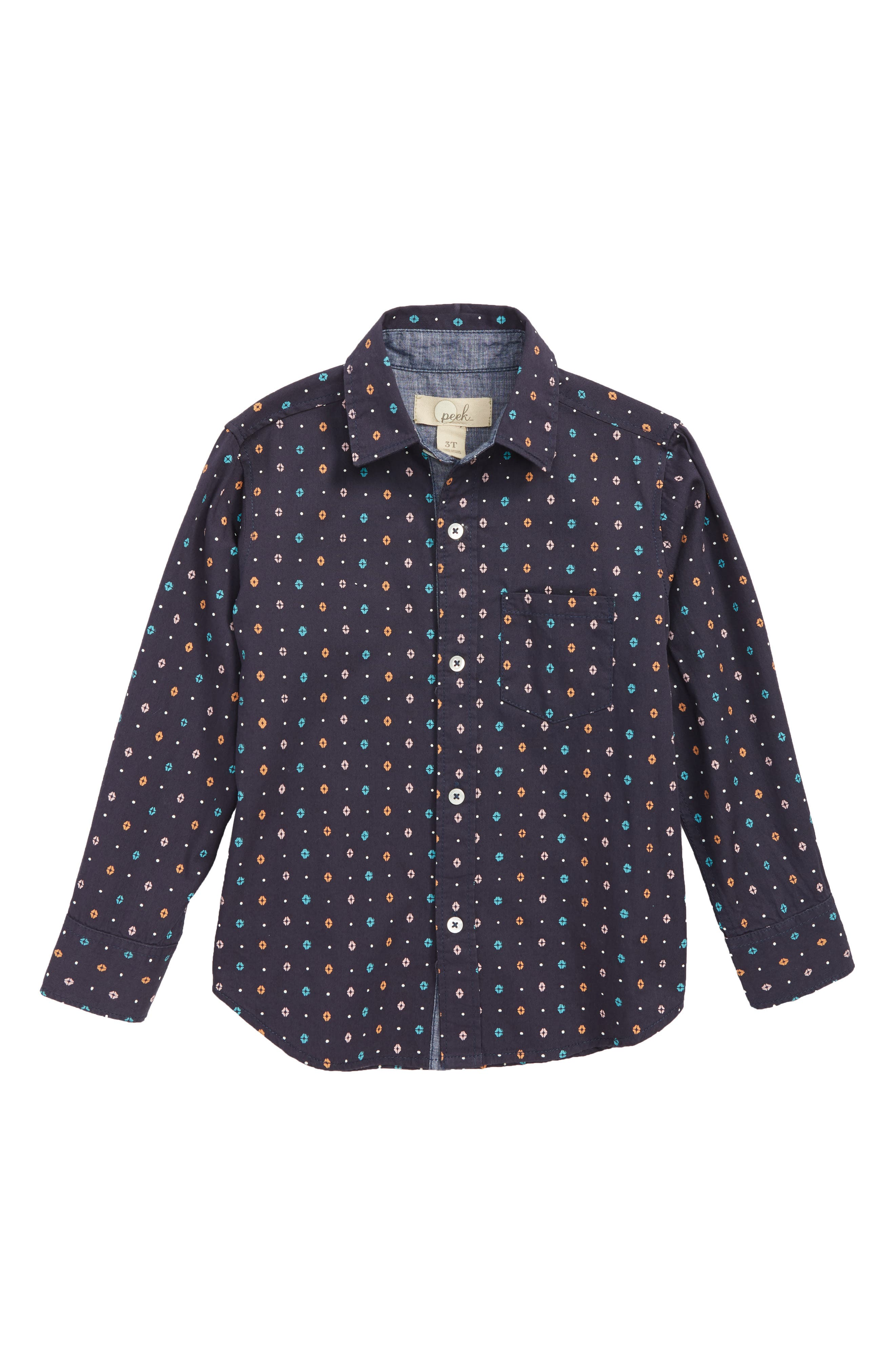 Oliver Print Woven Shirt,                         Main,                         color, 410