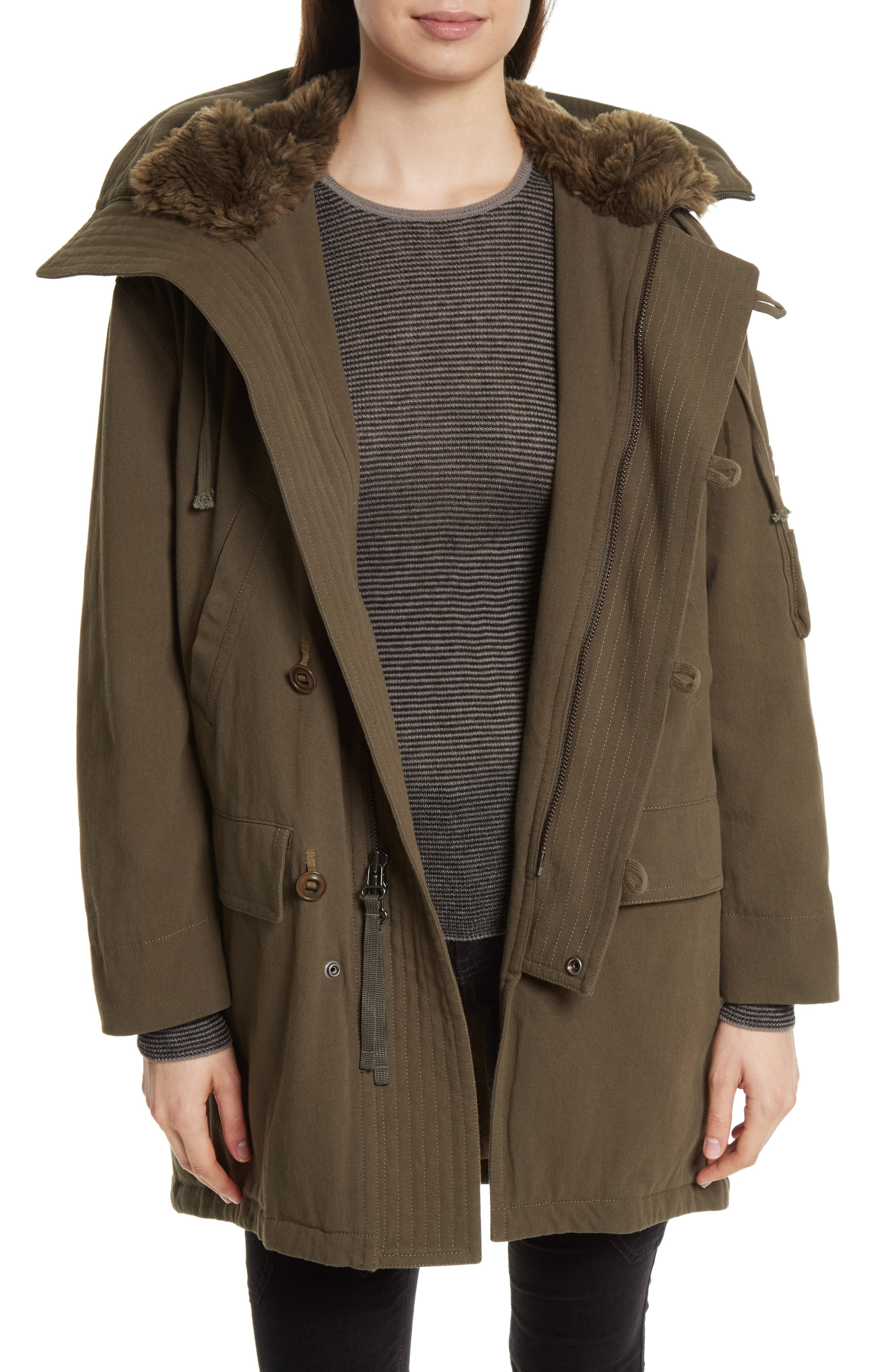 Faux Fur Trim Military Parka, Main, color, 310