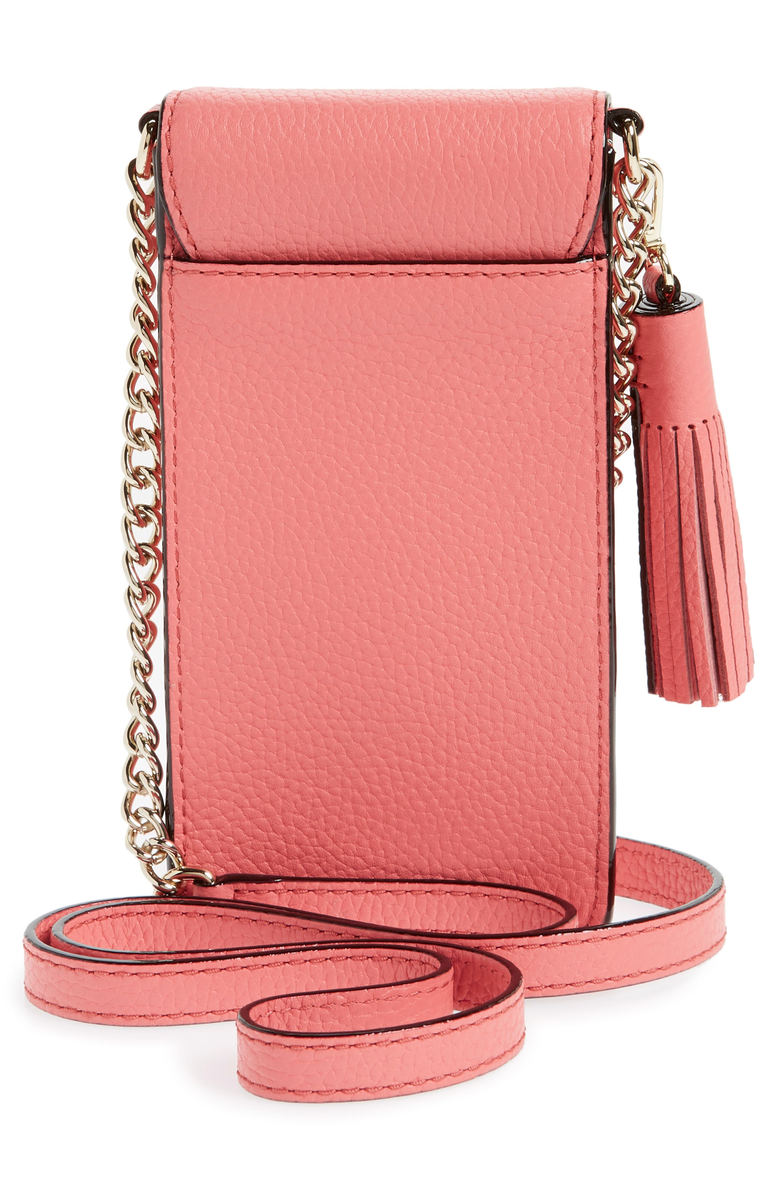 north/south leather smartphone crossbody bag,                             Alternate thumbnail 3, color,                             CORAL PEBBLE