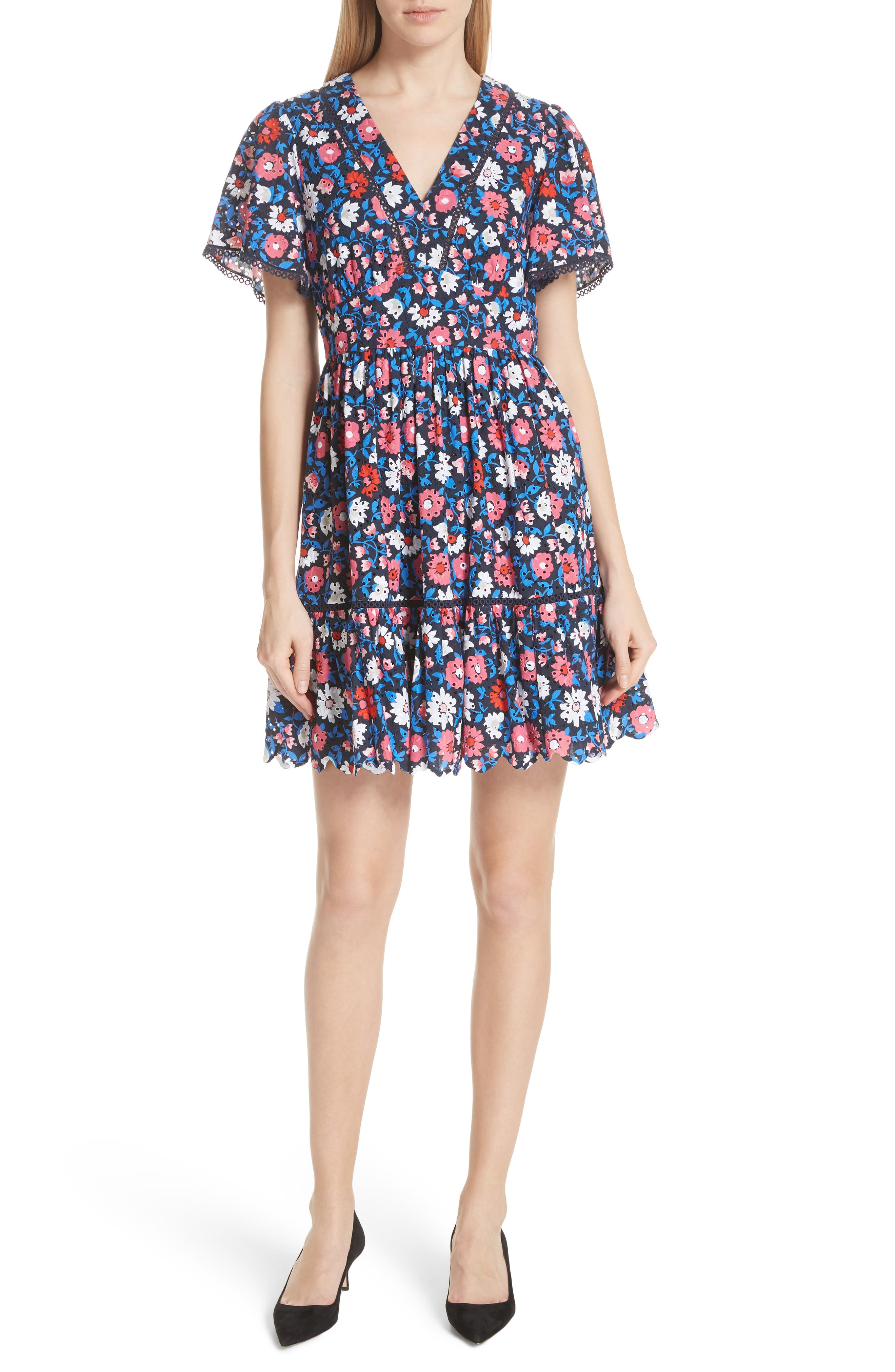 daisy eyelet minidress,                             Main thumbnail 1, color,                             473