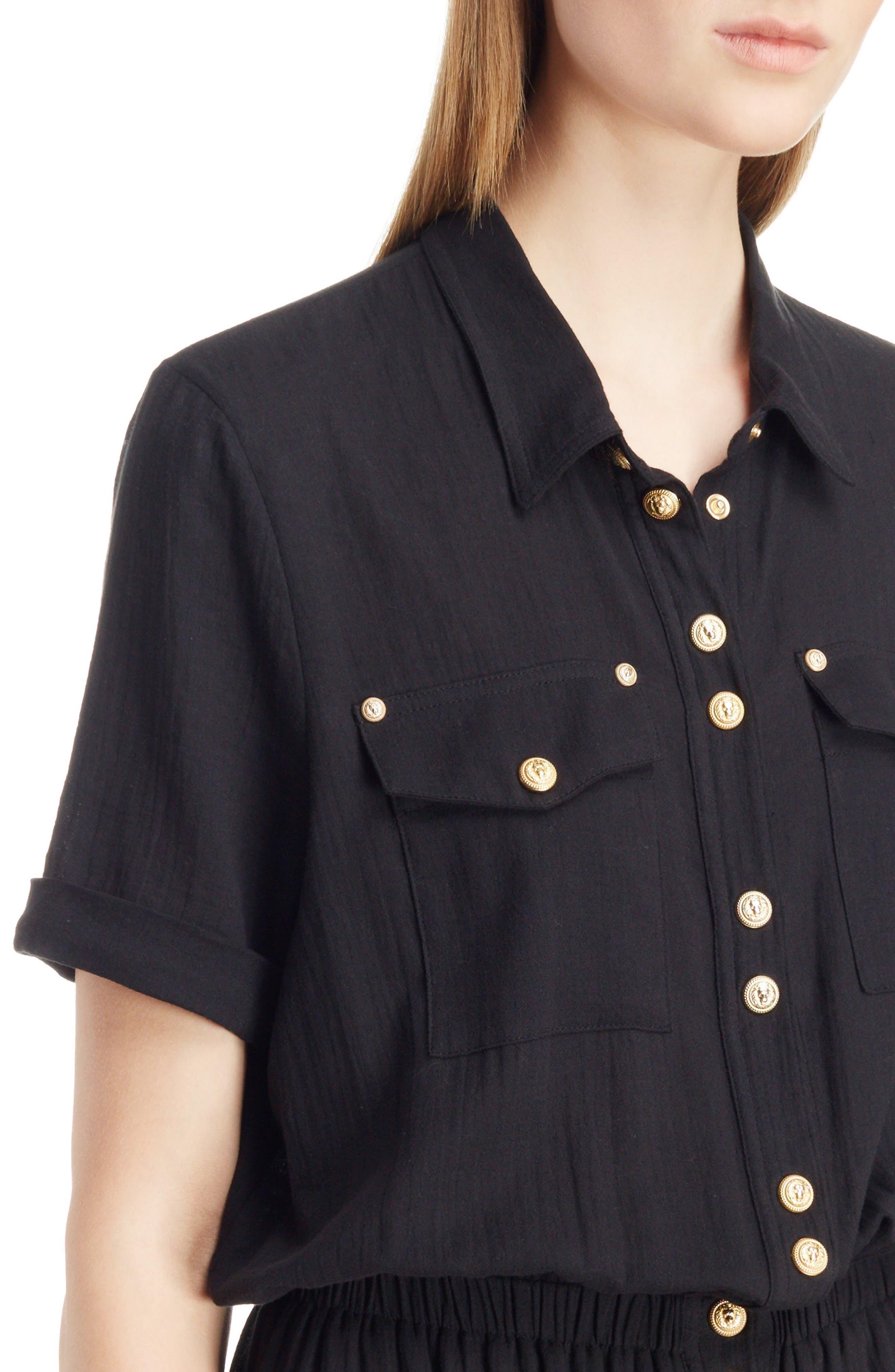 Button Front Cotton Maxi Dress,                             Alternate thumbnail 4, color,                             001