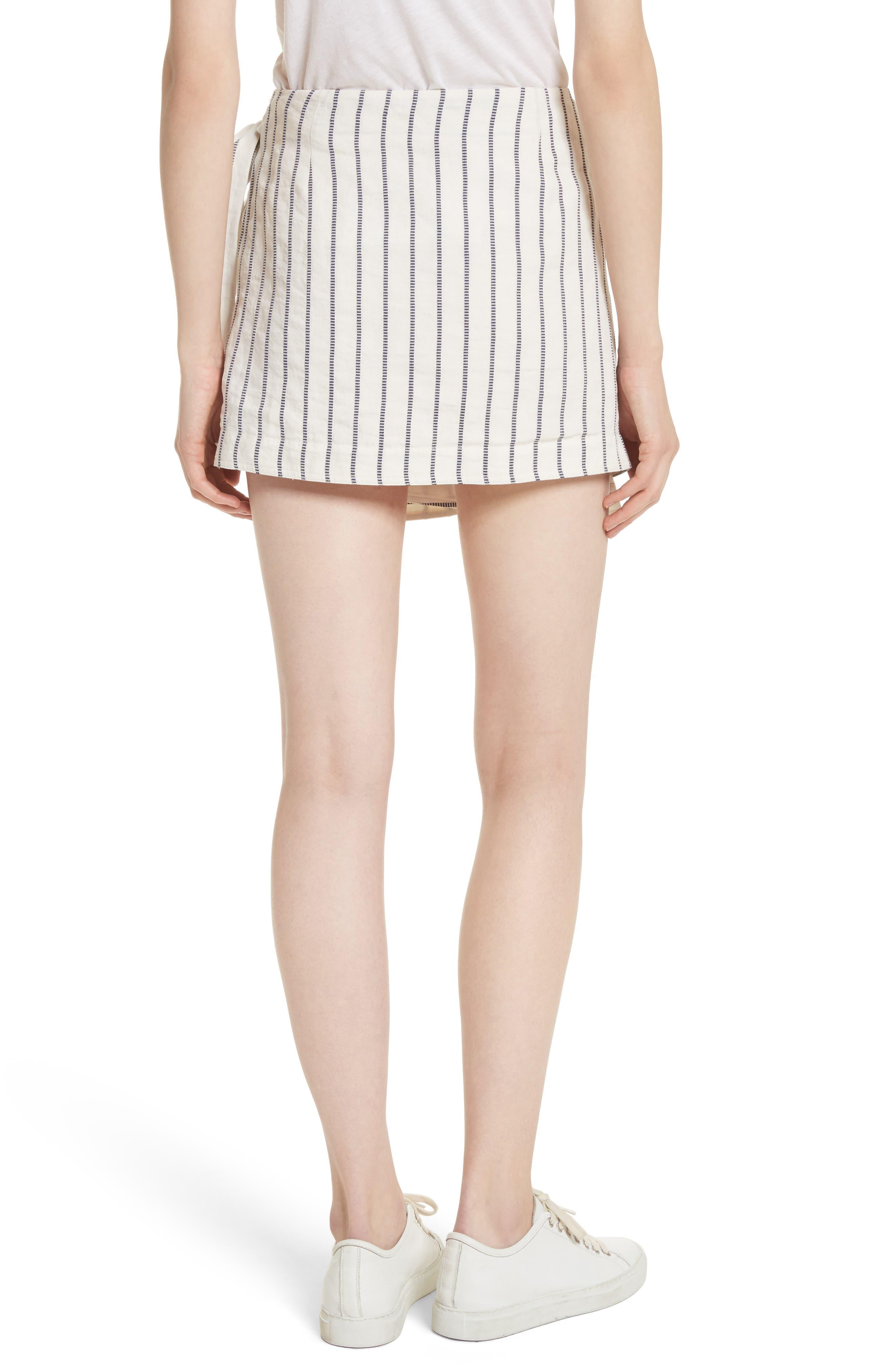 Tie Wrap Stripe Miniskirt,                             Alternate thumbnail 2, color,                             497