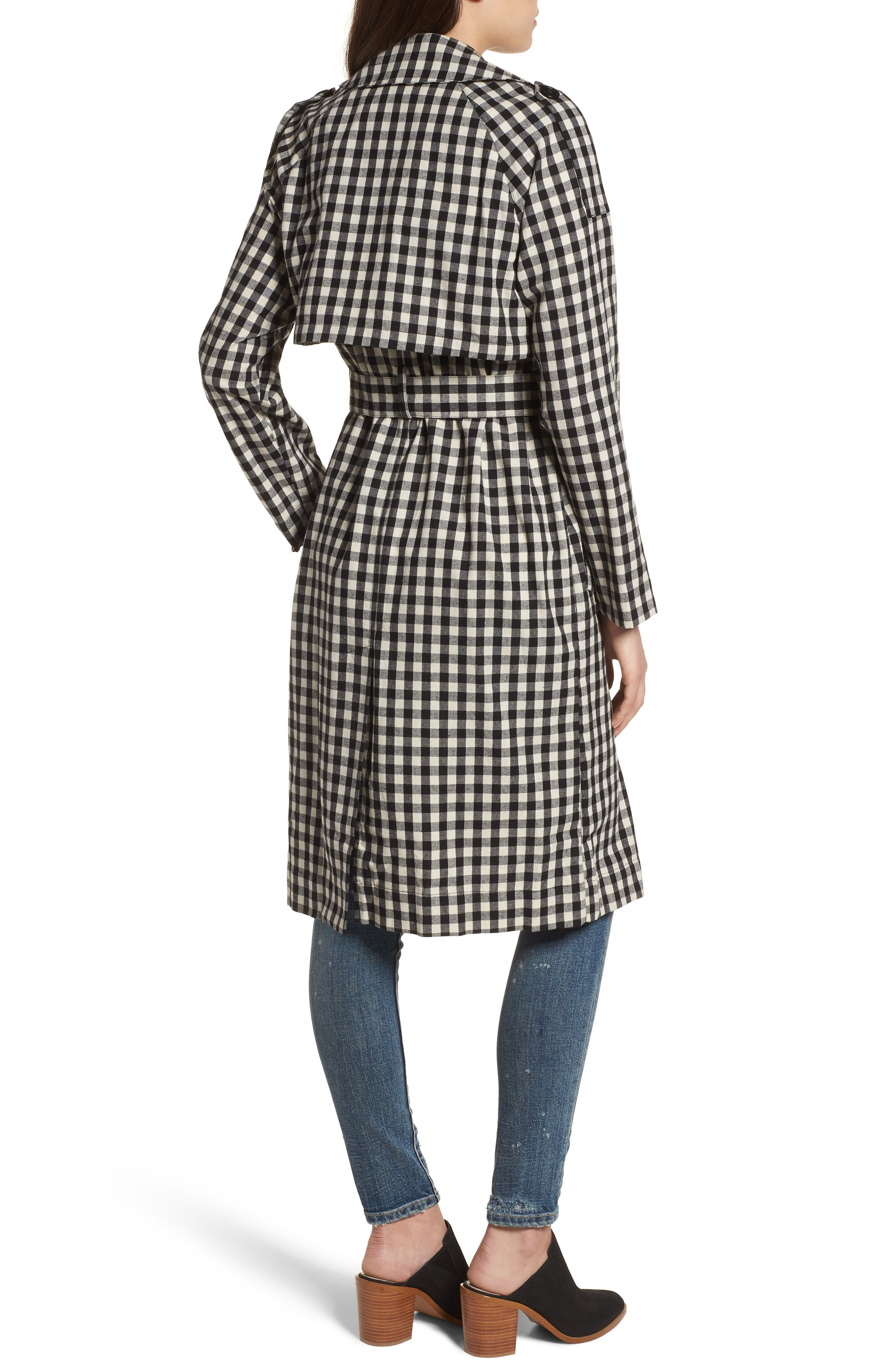 Gingham Trench Coat,                             Alternate thumbnail 2, color,                             004