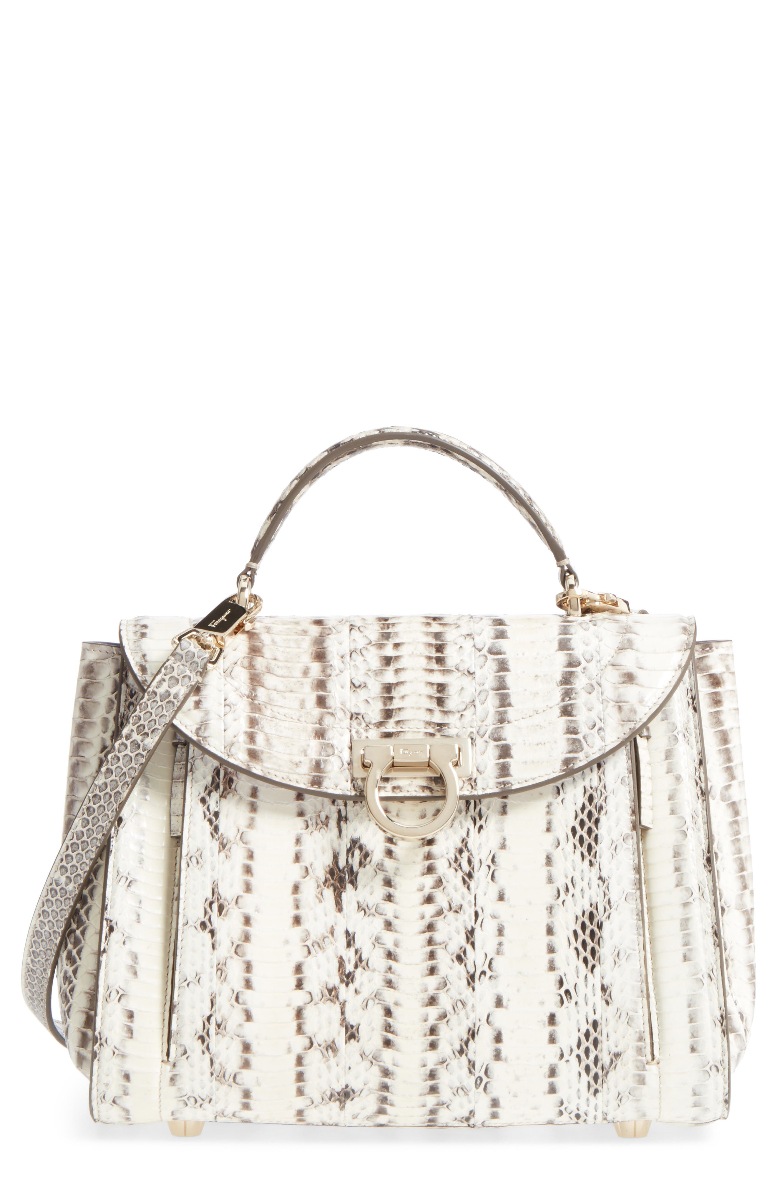 Sophia Genuine Snakeskin Satchel,                             Main thumbnail 1, color,                             ROCCIA/ RHODODENDRON/ LILAC
