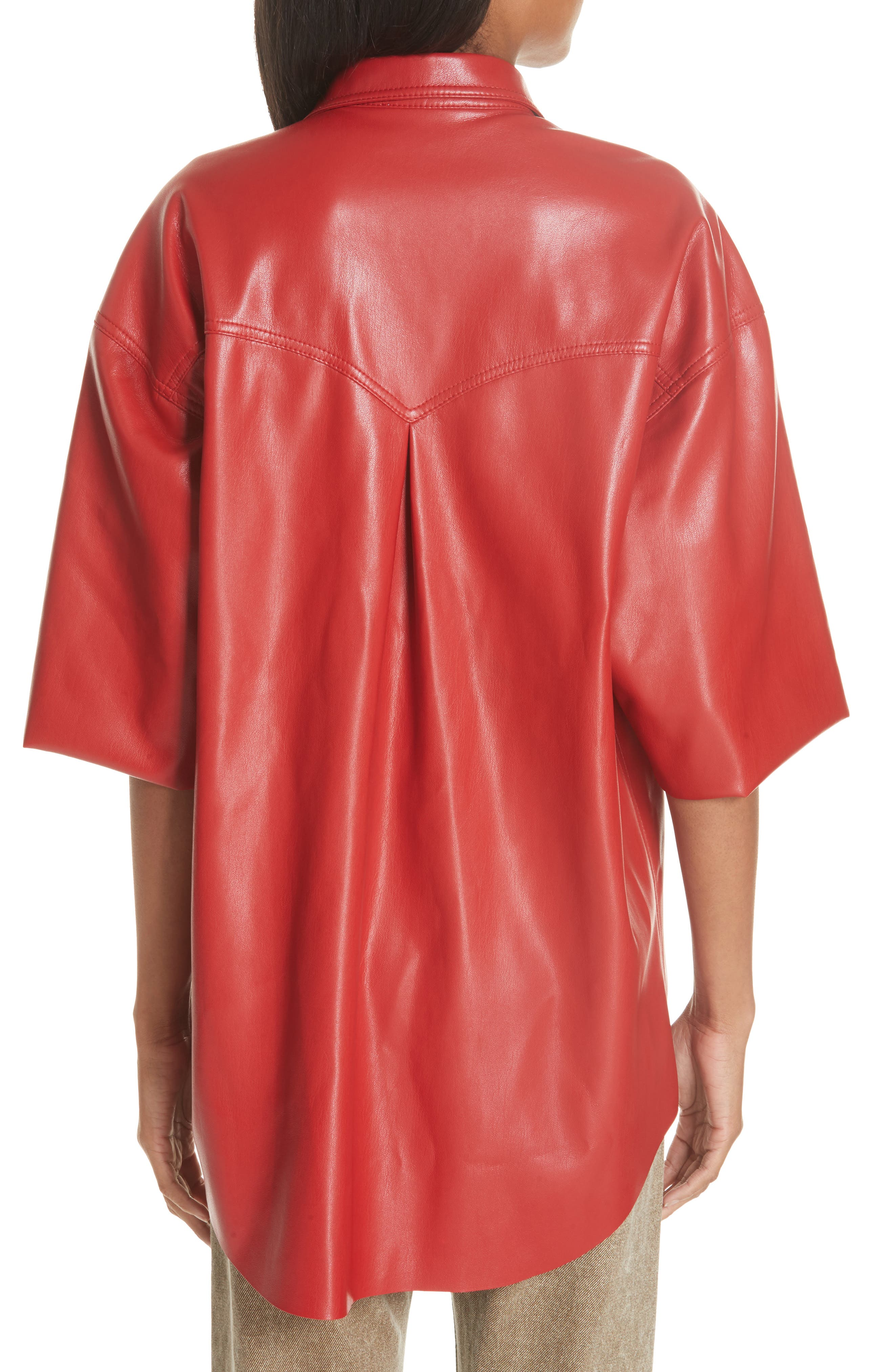 Seymour Faux Leather Shirt,                             Alternate thumbnail 2, color,                             RED