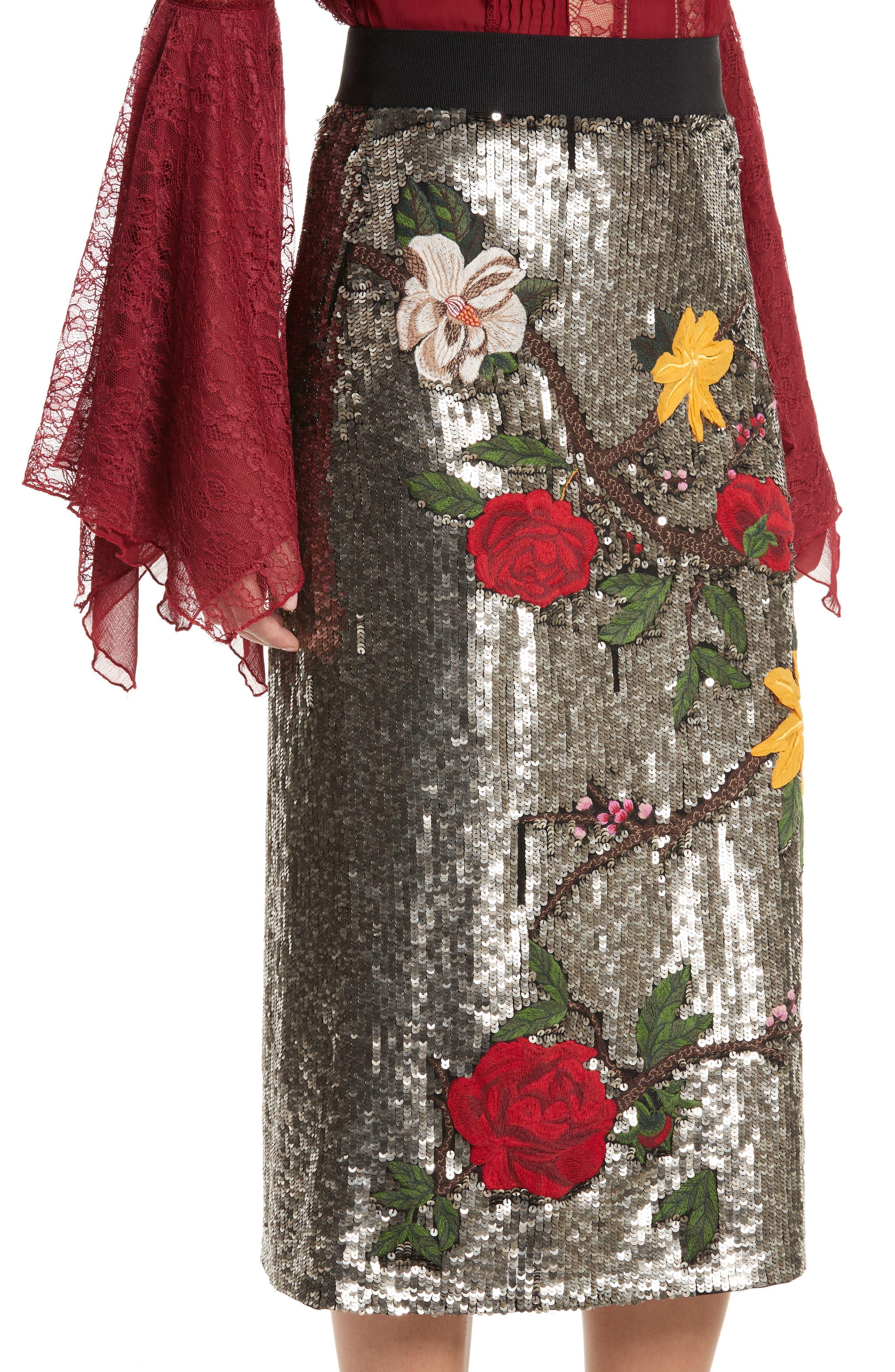 Ella Embellished Midi Skirt,                             Alternate thumbnail 4, color,                             047