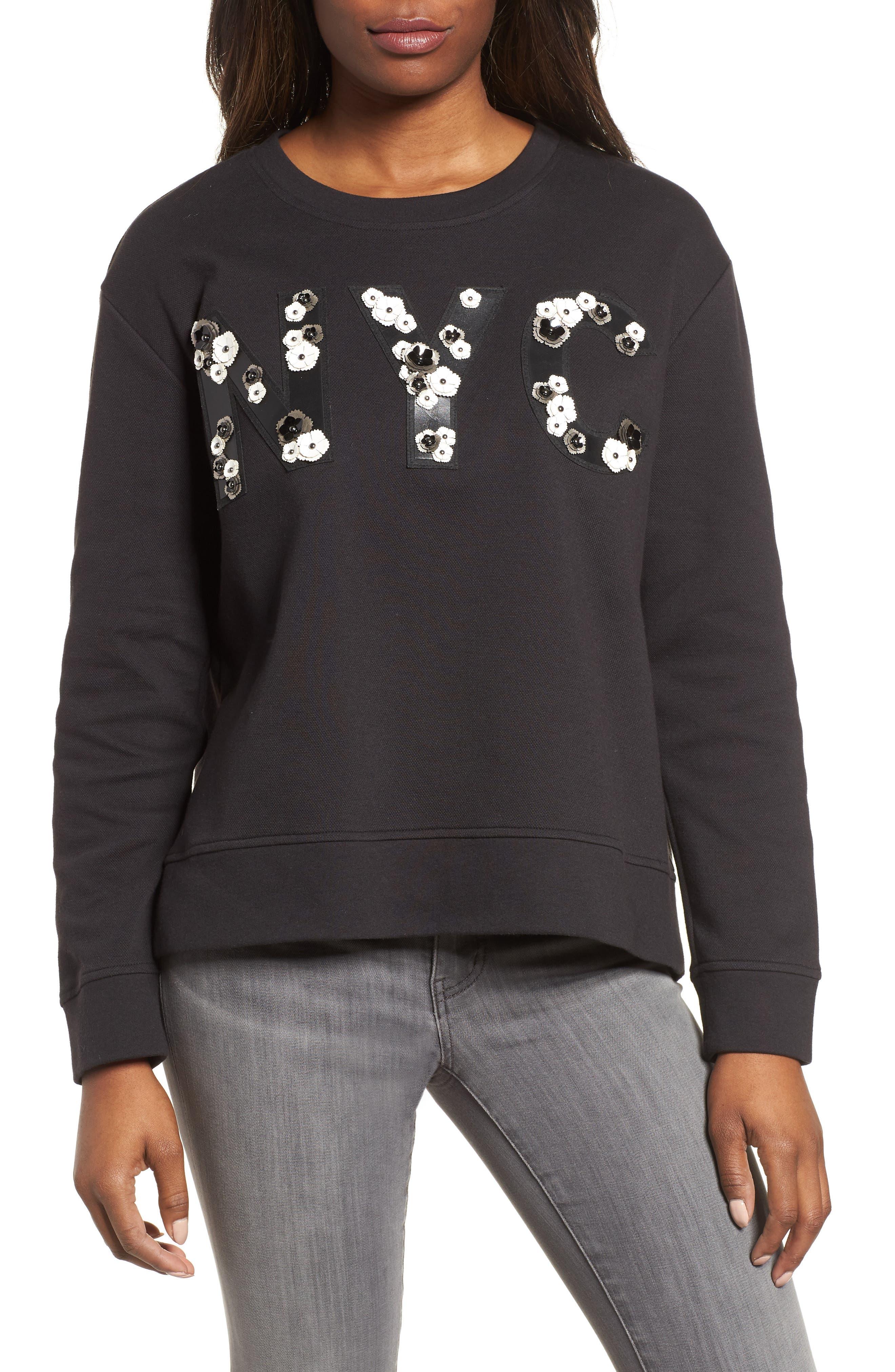 NYC Sweatshirt,                             Main thumbnail 1, color,                             BLACK