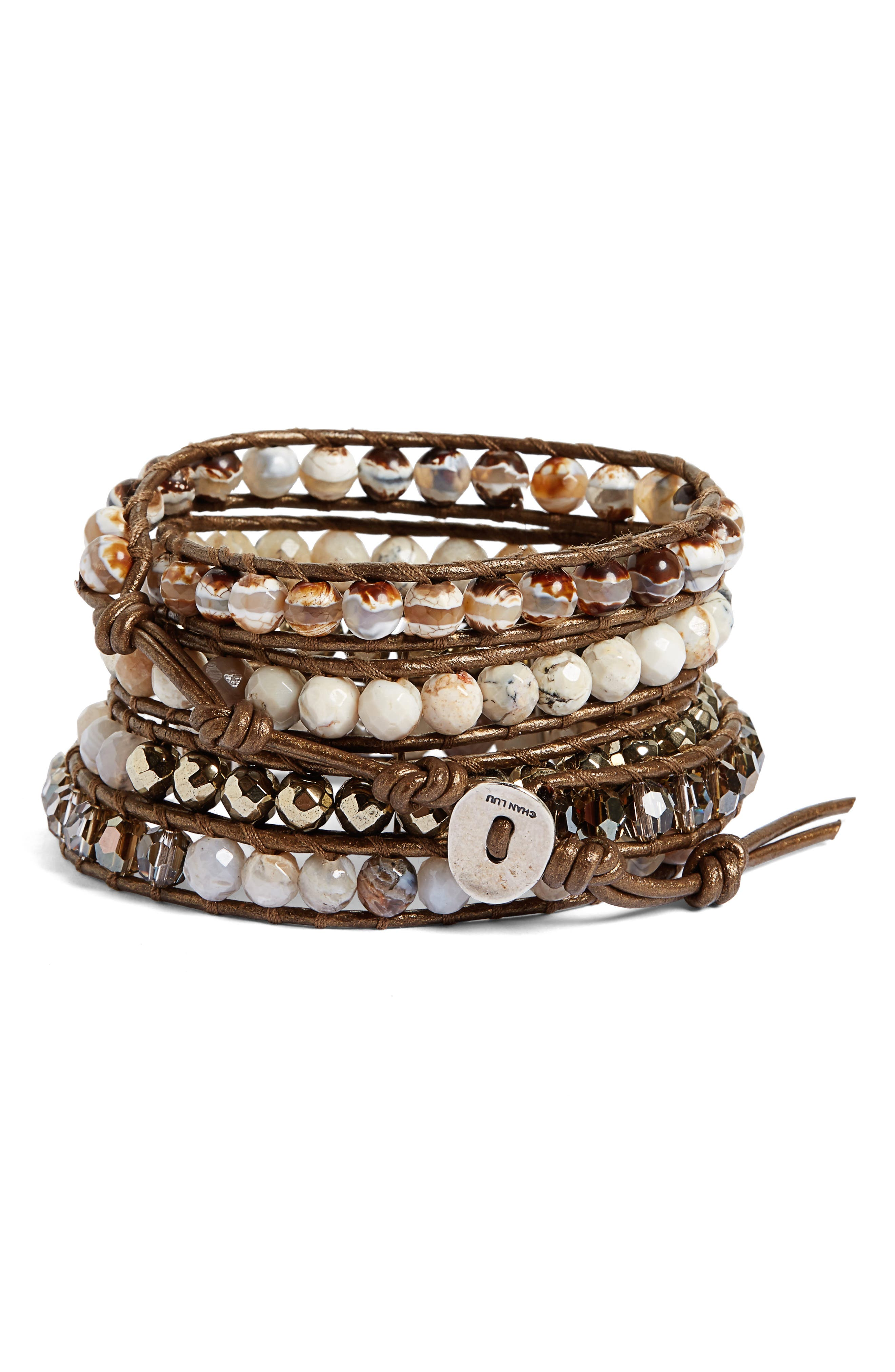 Semiprecious Stone Wrap Bracelet,                             Main thumbnail 2, color,