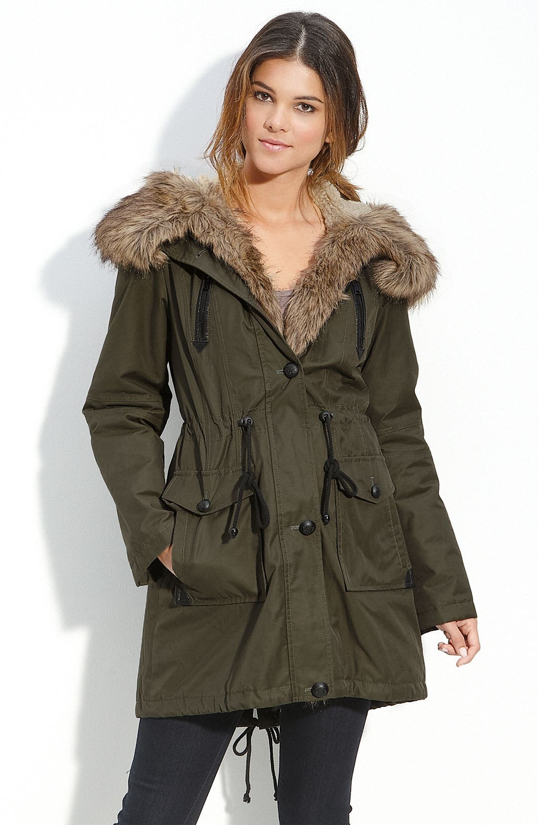 Faux Fur Trim Hooded Anorak,                             Main thumbnail 1, color,                             300