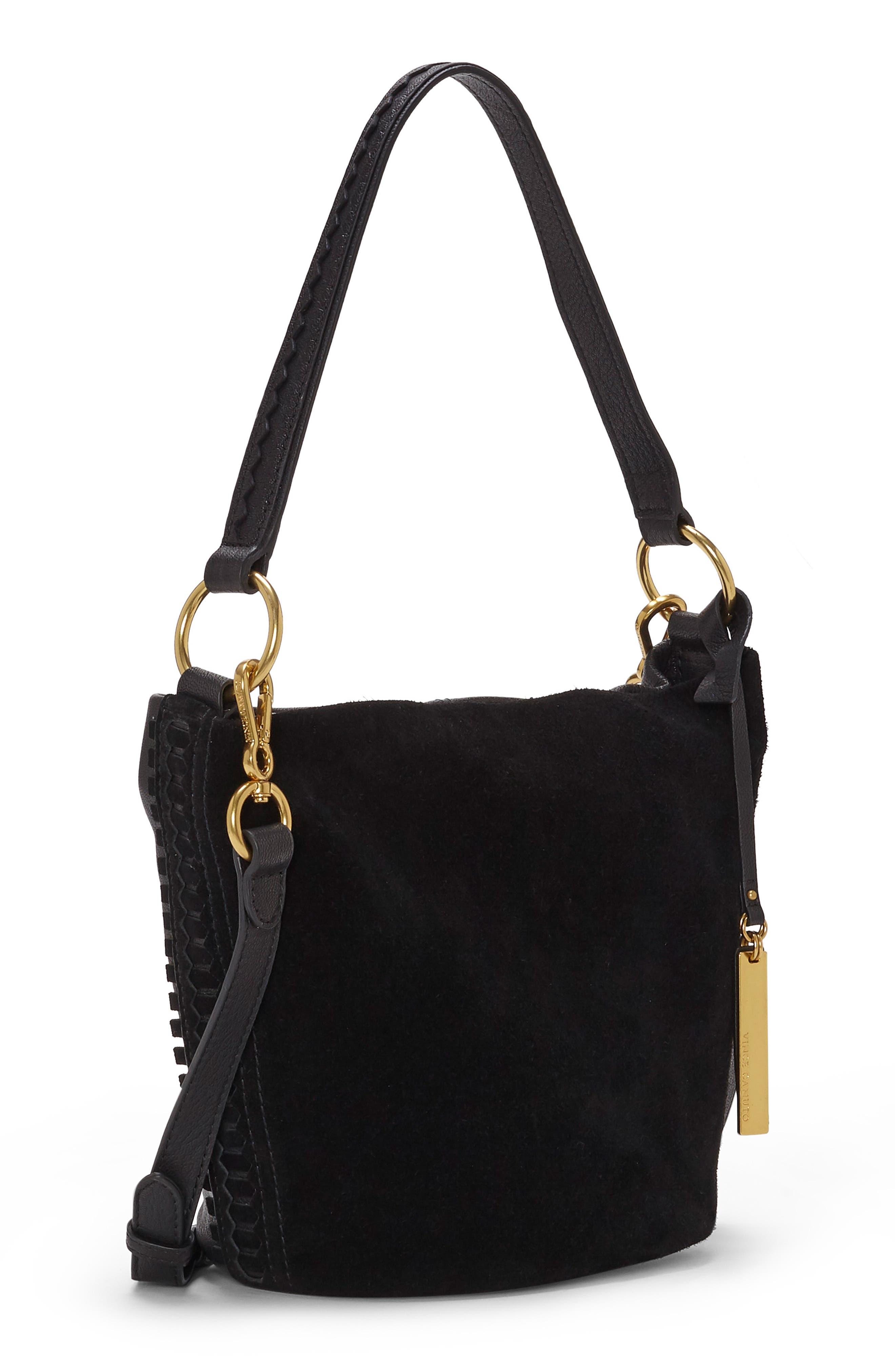 Suza Leather Bucket Bag,                             Alternate thumbnail 4, color,                             JET BLACK