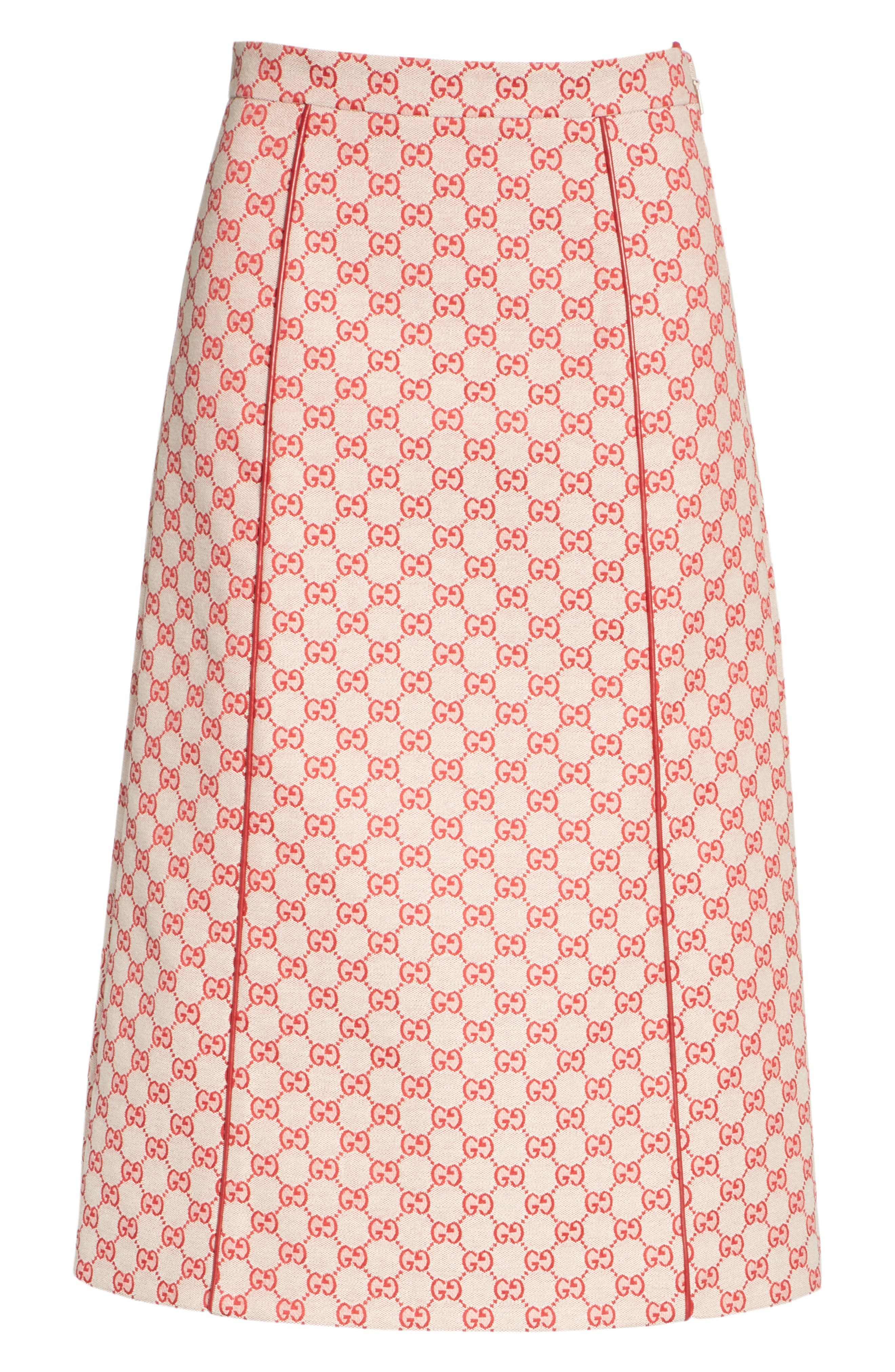 GG Print Canvas A-Line Skirt,                             Alternate thumbnail 6, color,                             GARDENIA/ HIBISCUS RED