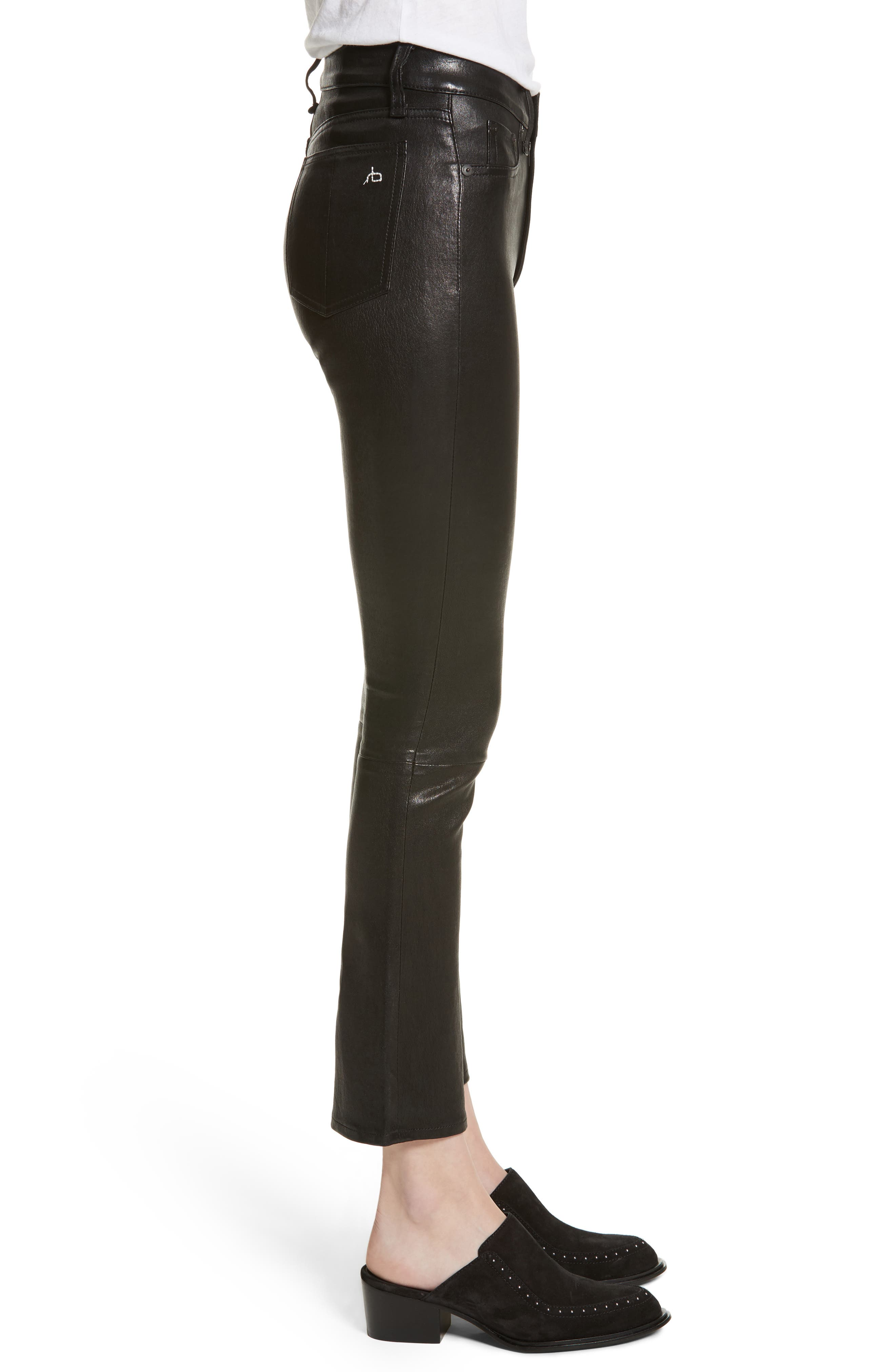 Hana Crop Flare Leather Pants,                             Alternate thumbnail 3, color,                             003